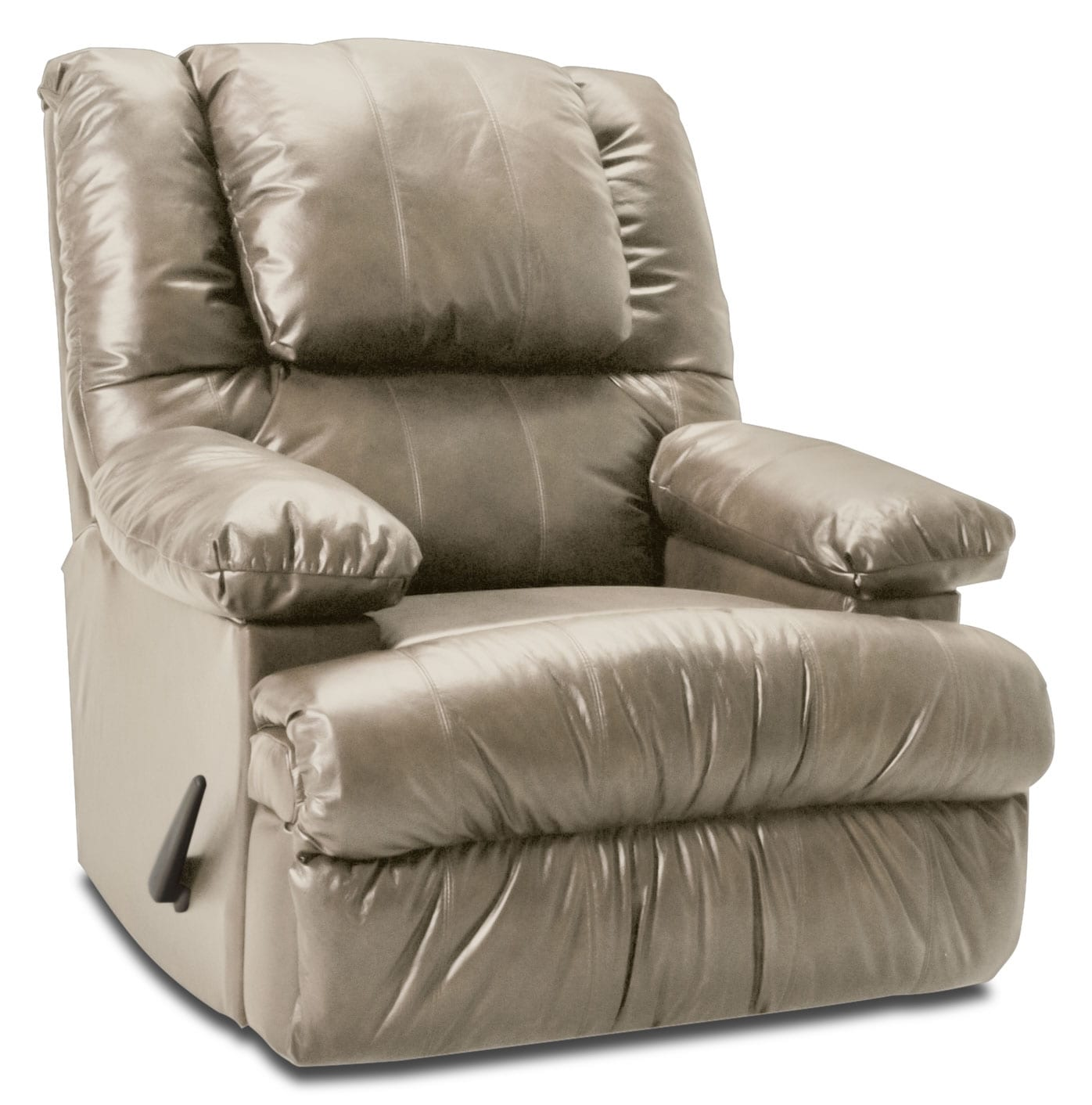 Living Room Furniture - Designed2B Recliner 5598 Bonded Leather Rocker with Storage Arms - Putty