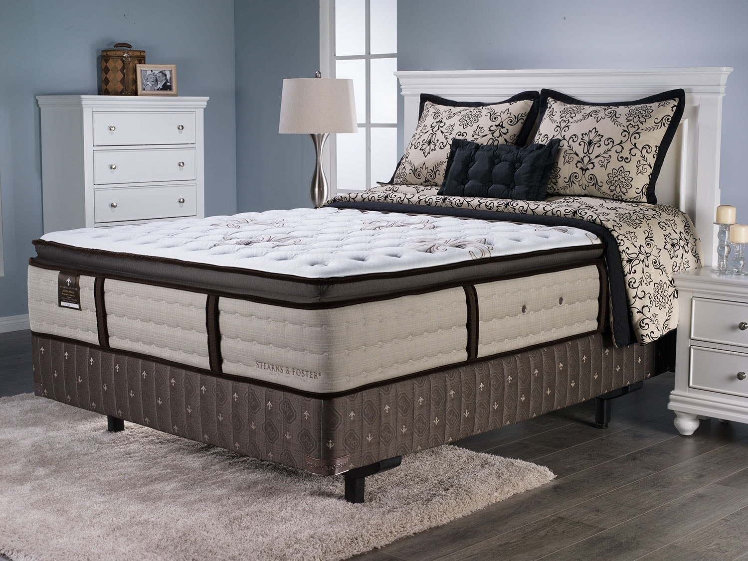 Mattresses and Bedding - Stearns and Foster Laguna Beach Pillow-Top King Mattress Set