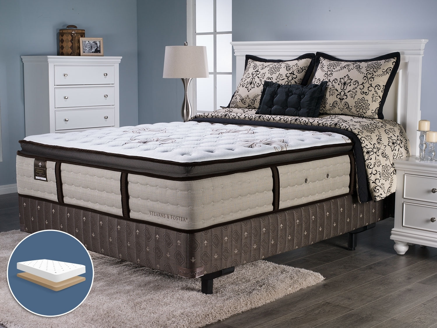 Mattresses and Bedding - Stearns and Foster Laguna Beach Pillow-Top King Low-Profile Mattress Set