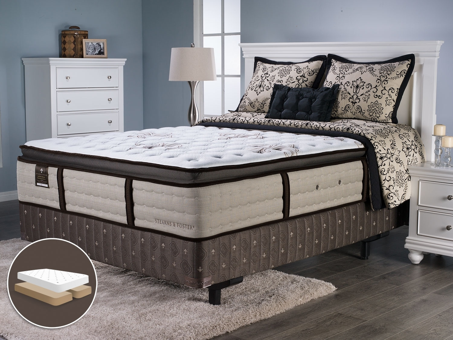 Mattresses and Bedding - Stearns and Foster Laguna Beach Pillow-Top Split Queen Mattress Set