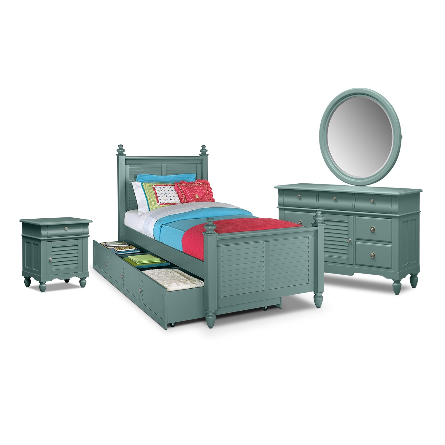[Seaside Blue 7 Pc. Full Bedroom with Trundle]
