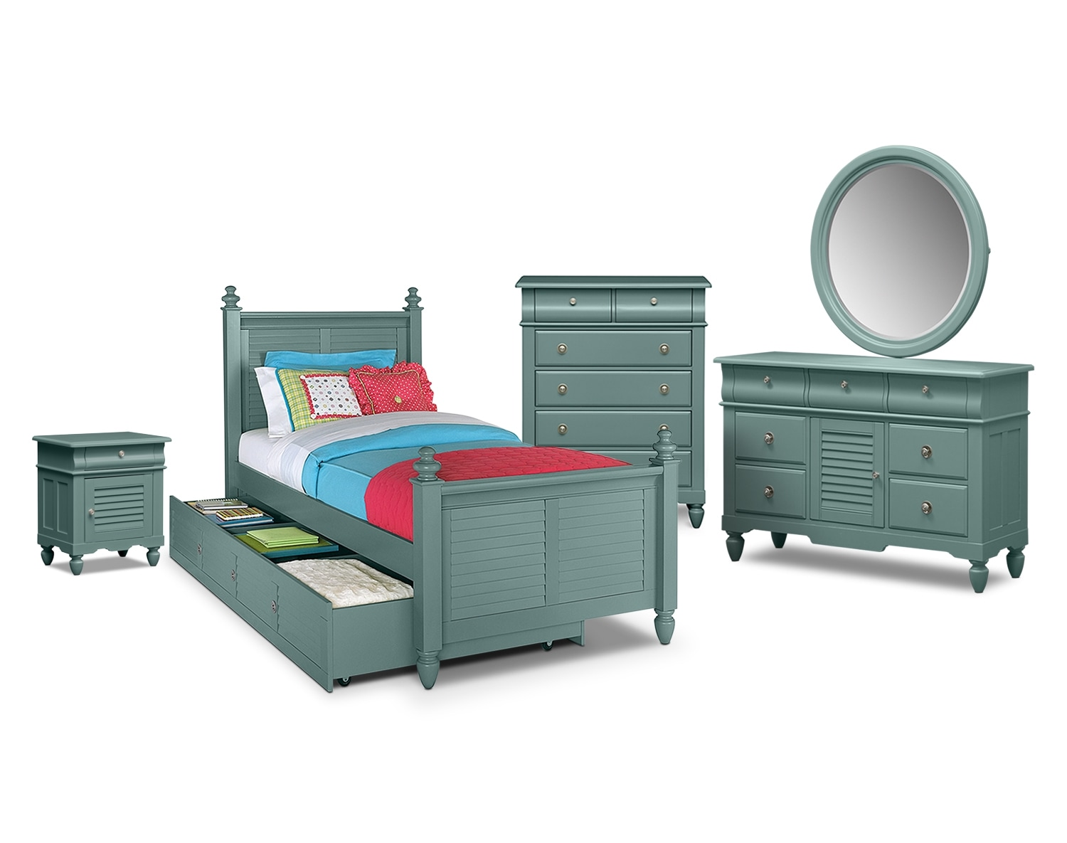Kids Furniture - The Mayflower Blue Collection - Twin Bed with Trundle
