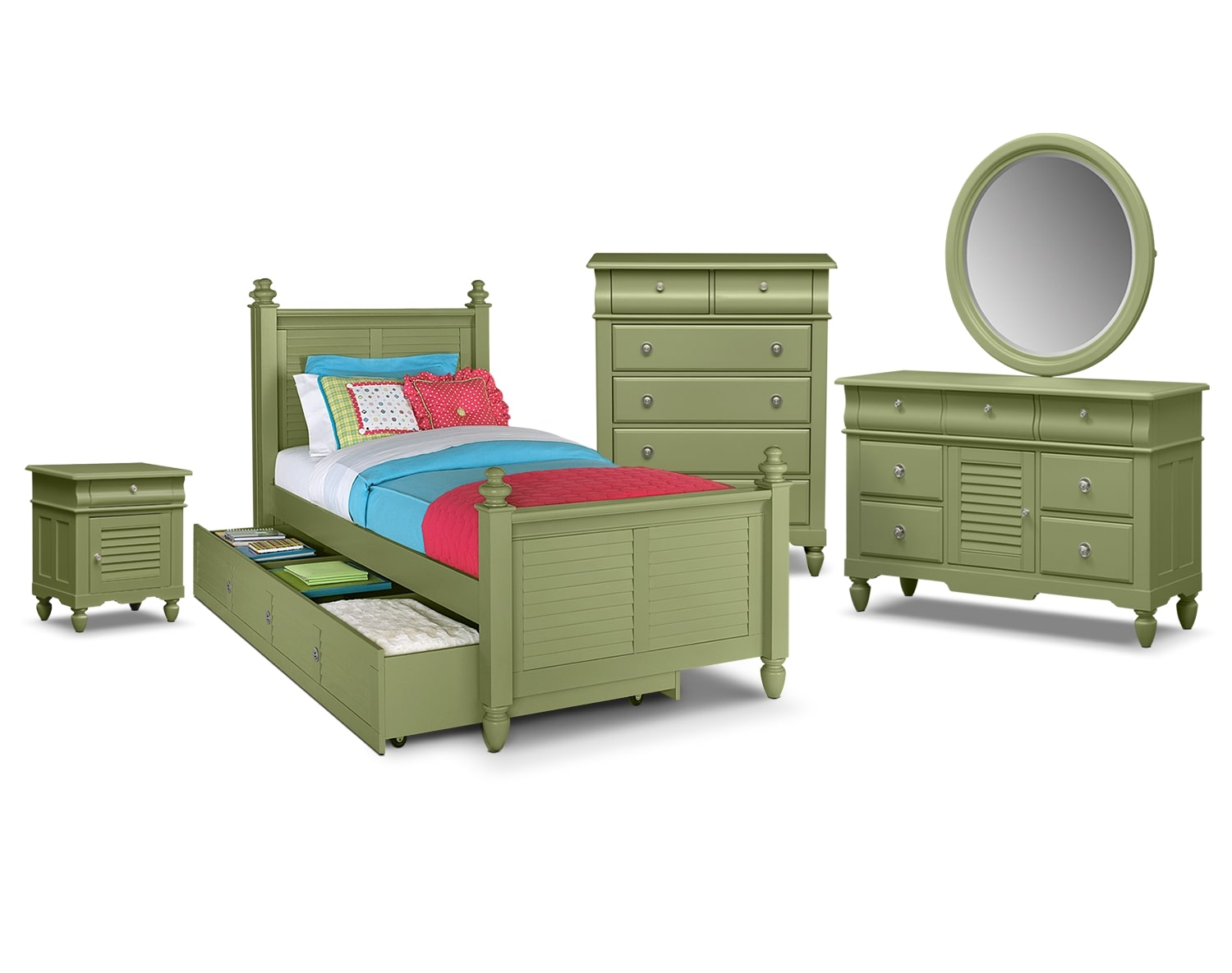 Kids Furniture - The Mayflower Green Collection - Twin Bed