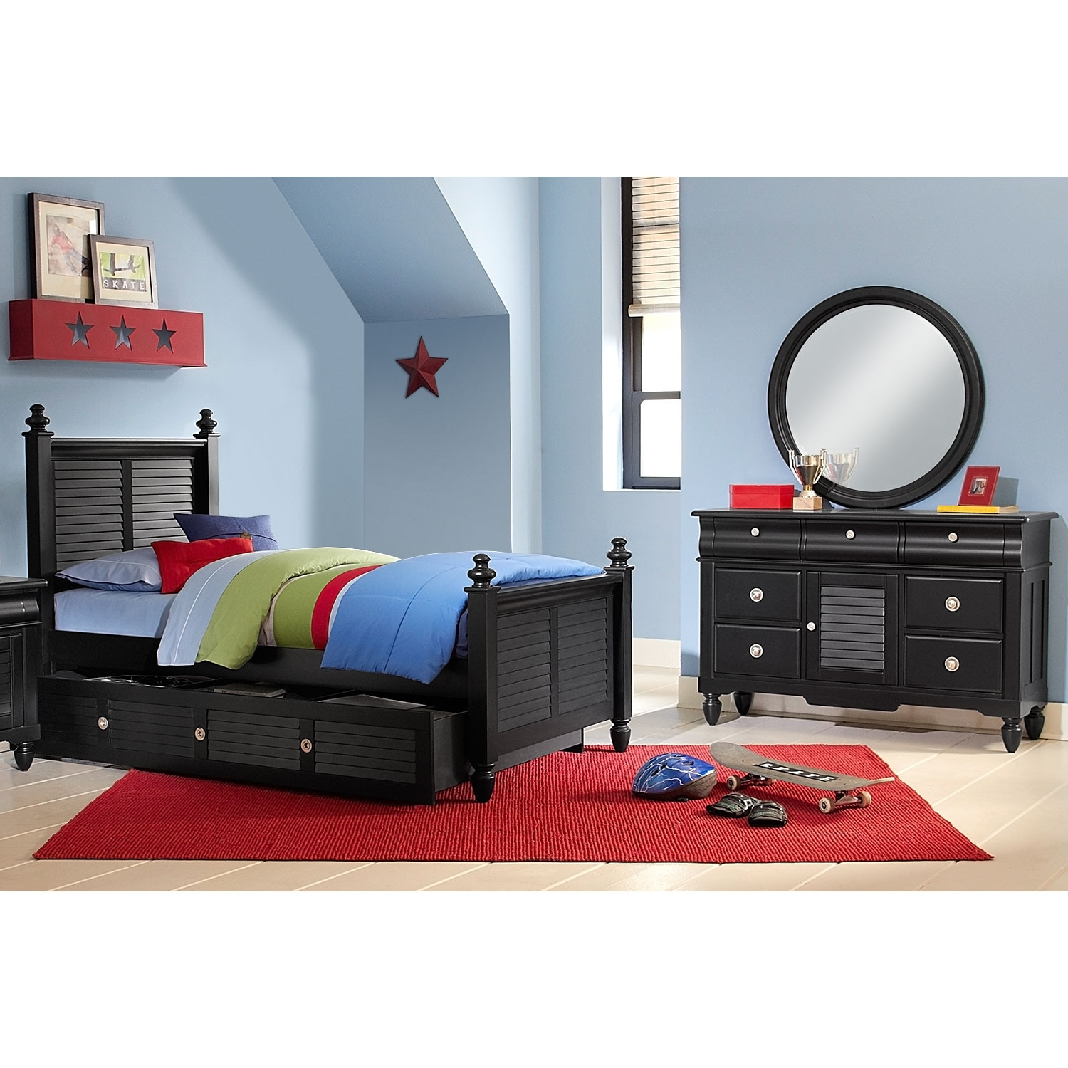 [Seaside Black 6 Pc. Twin Bedroom with Trundle]