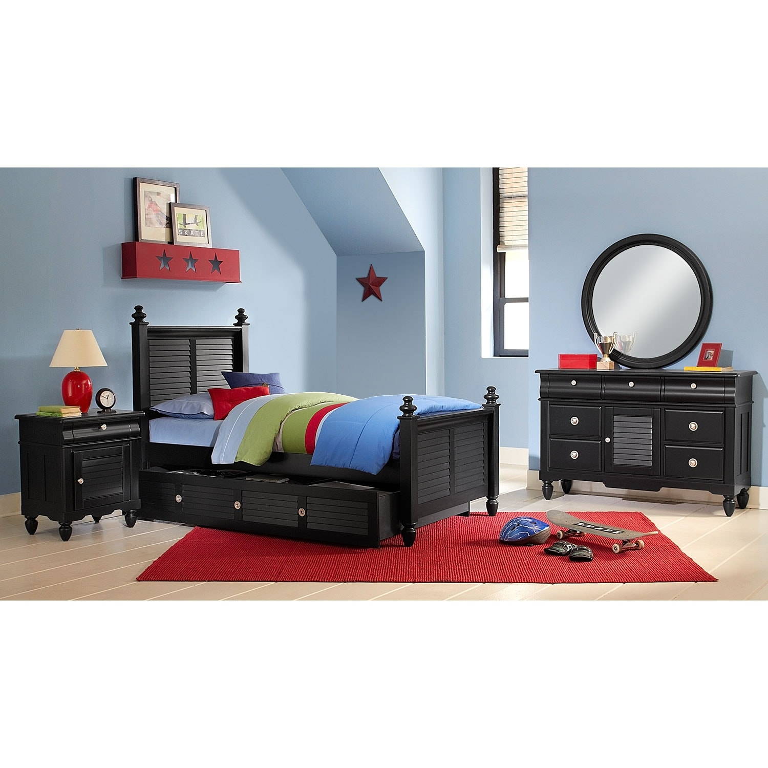 [Seaside Black 7 Pc. Full Bedroom with Trundle]