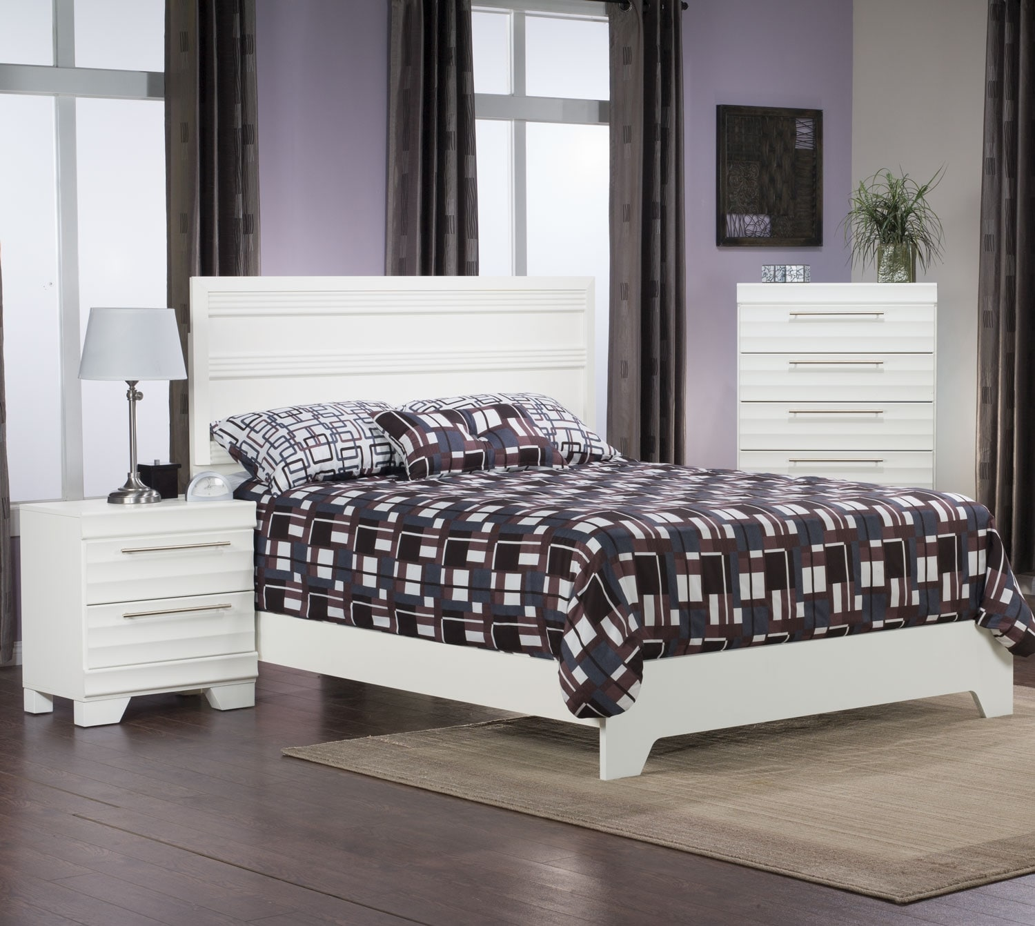 Bedroom Furniture - Olivia 3-Piece Queen Bedroom Package – White