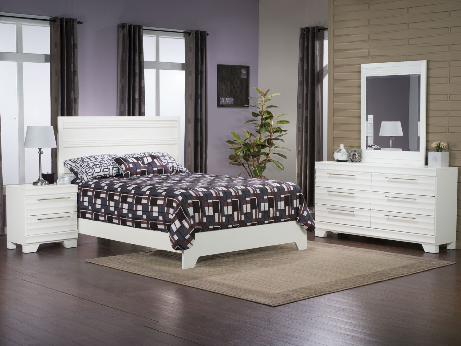 Bedroom Furniture - Olivia 4-Piece Queen Bedroom Package – White