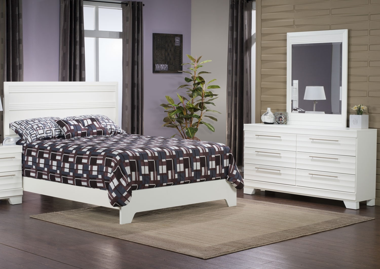 Bedroom Furniture - Olivia 5-Piece Queen Bedroom Package – White