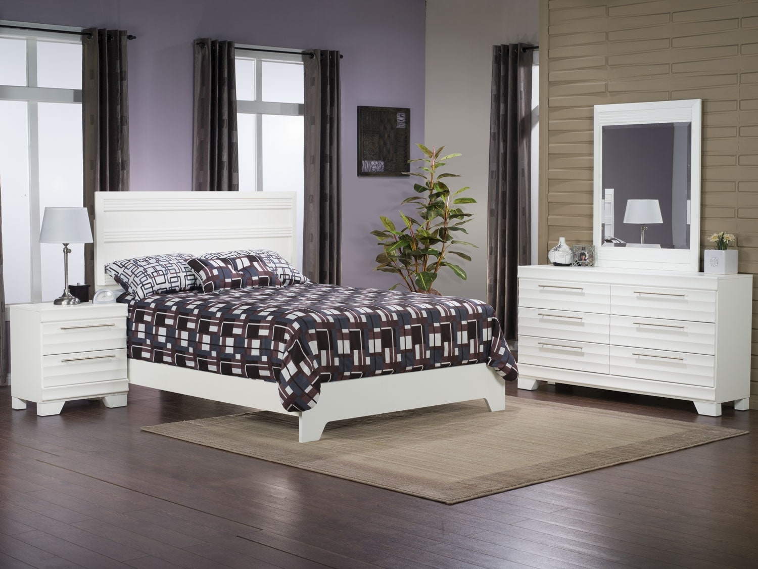 Bedroom Furniture - Olivia 6-Piece Queen Bedroom Package – White