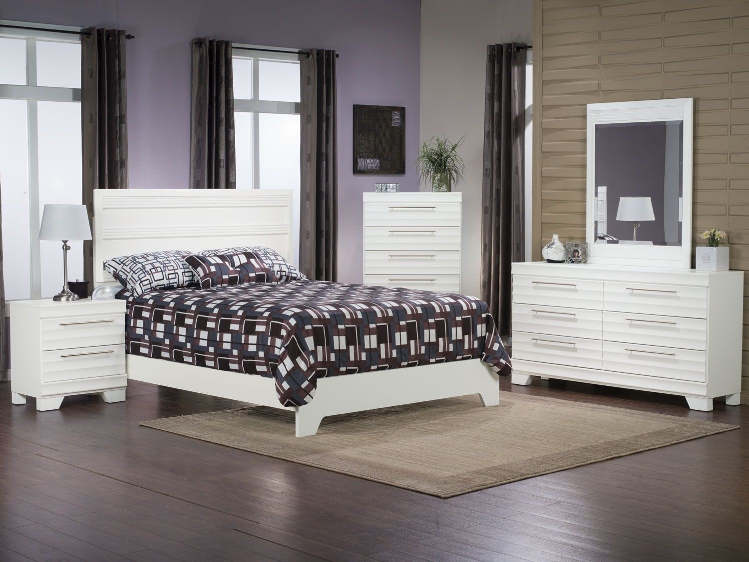 Bedroom Furniture - Olivia 8-Piece Queen Bedroom Package – White