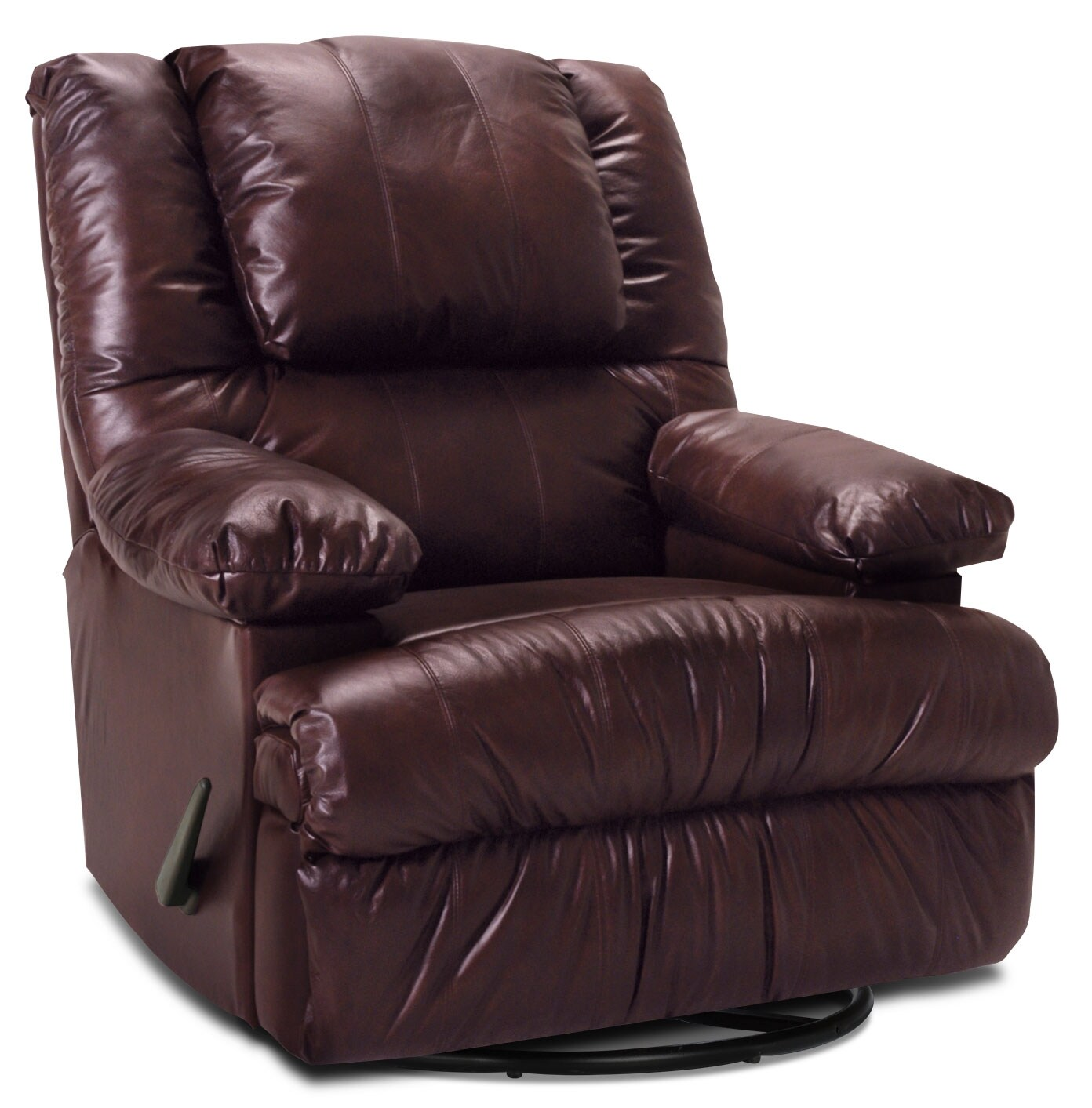 Living Room Furniture - Designed2B Recliner 5598 Genuine Leather Swivel Rocker with Storage Arms - Burgundy