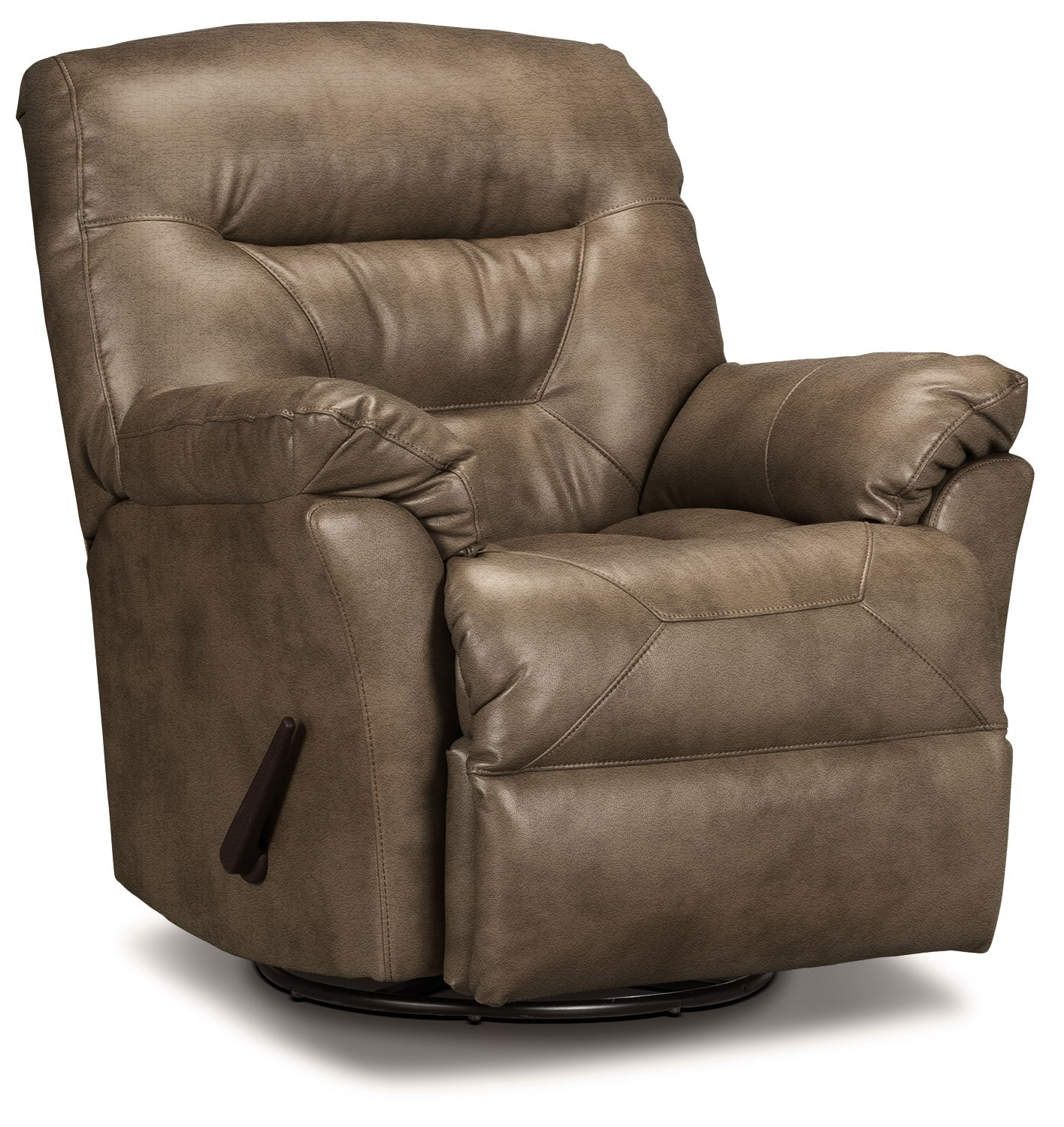 Living Room Furniture - Designed2B Recliner 4579 Leather-Look Fabric Swivel Glider Recliner - Tobacco
