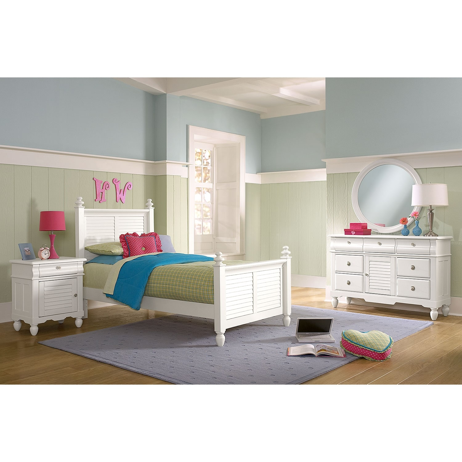seaside 6 piece twin bedroom set white american