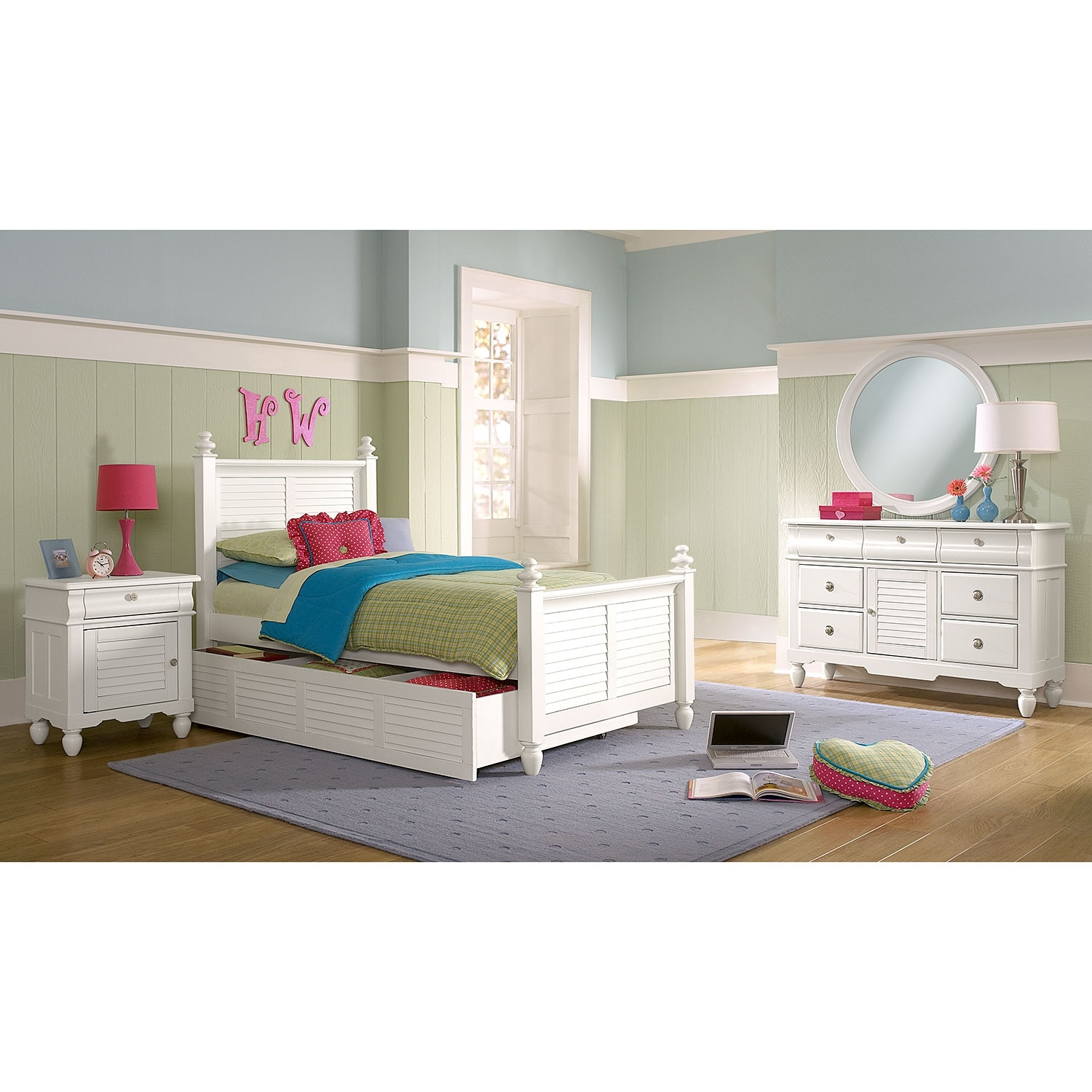 Seaside 7 piece twin bedroom set with trundle white american signature furniture White twin trundle bedroom set