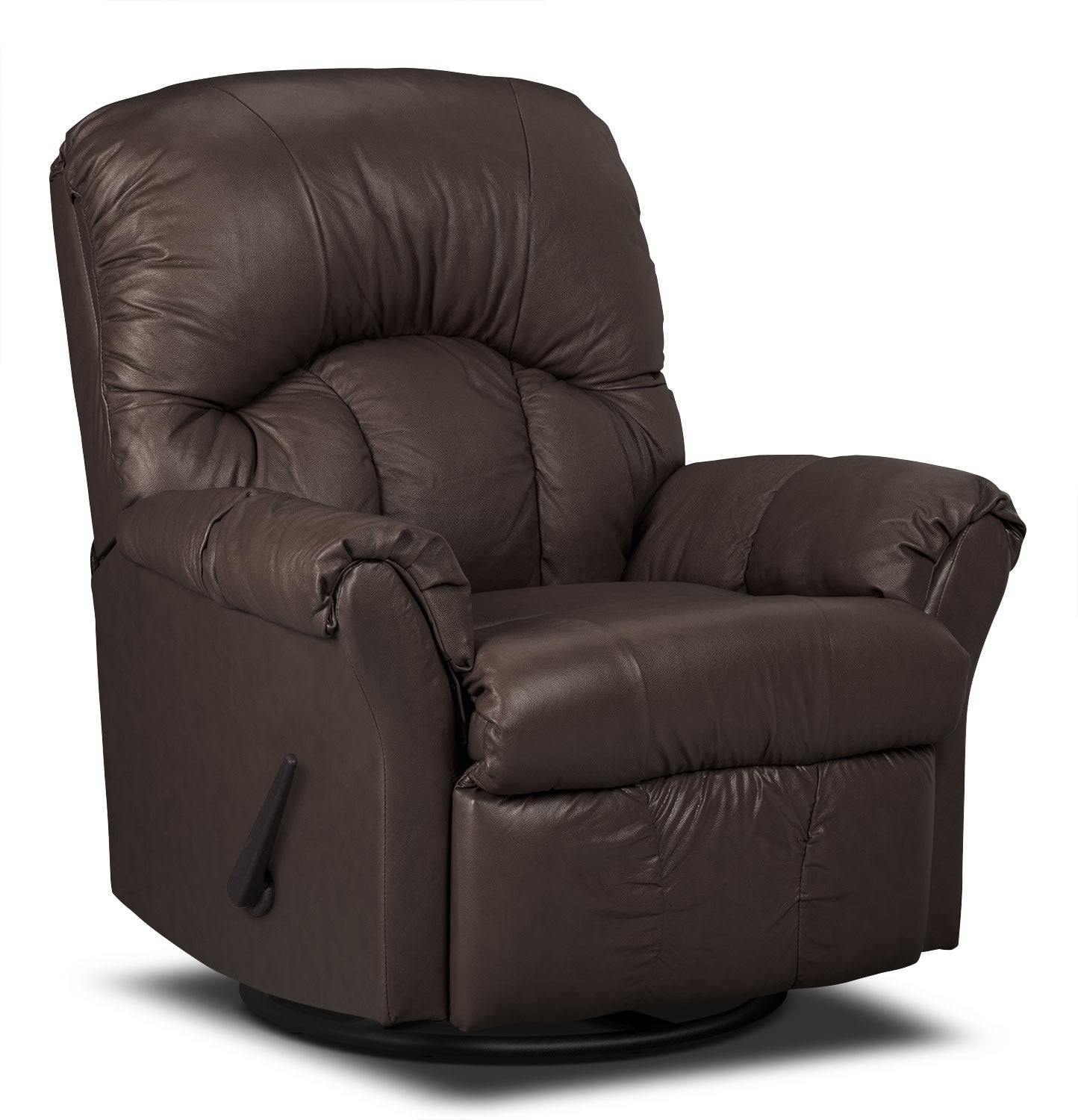 Living Room Furniture - Designed2B Recliner 6734 Bonded Leather Swivel Glider Chair - Walnut