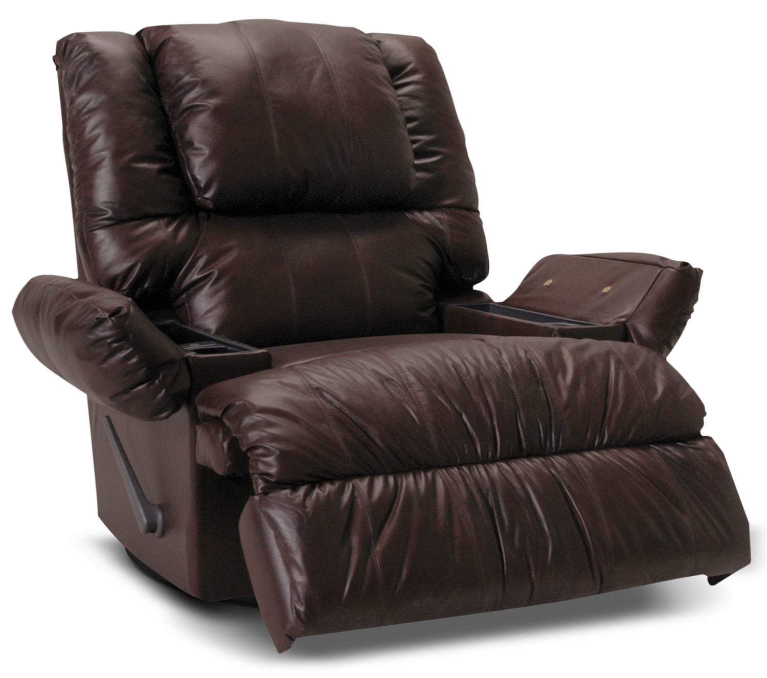 Designed2B Recliner 5598 Bonded Leather Swivel Rocker With Storage Arms Jav