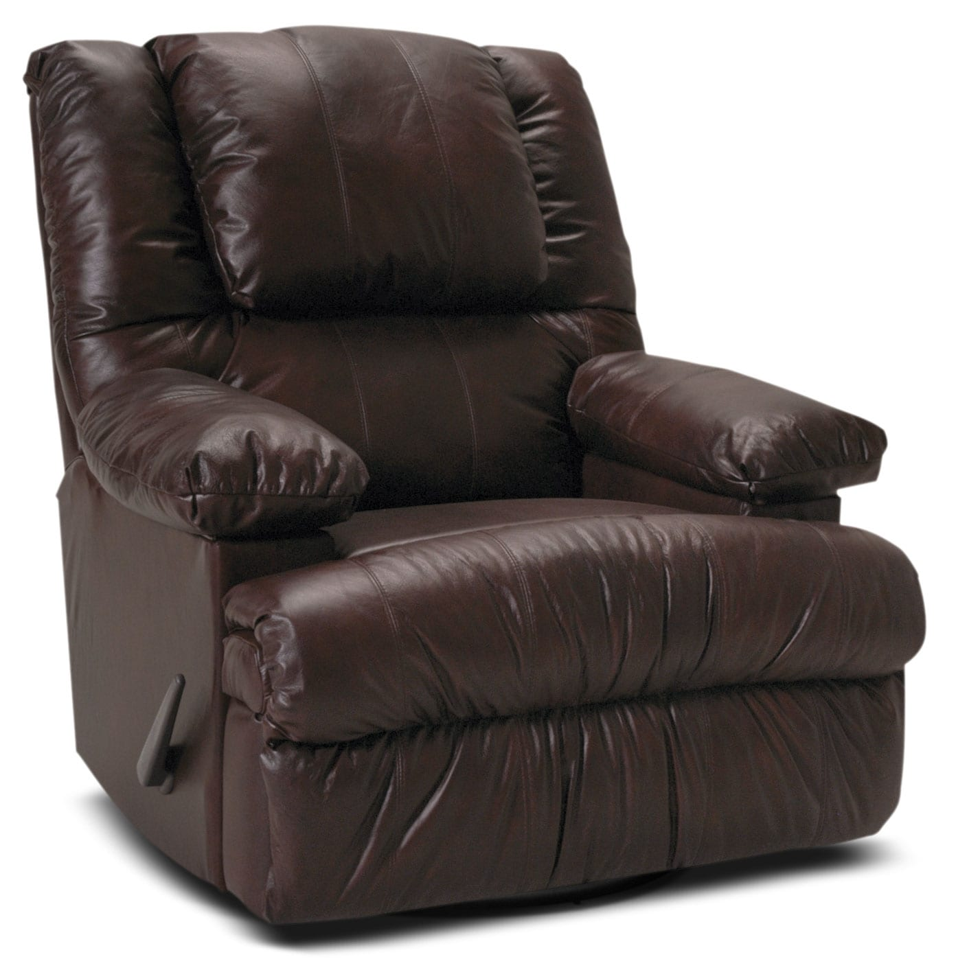 Living Room Furniture - Designed2B Recliner 5598 Bonded Leather Swivel Rocker with Storage Arms - Java