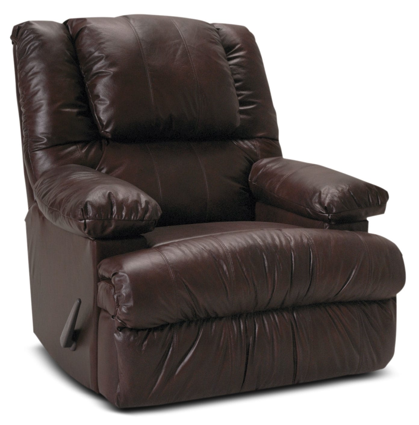 Living Room Furniture - Designed2B Recliner 5598 Bonded Leather Rocker with Storage Arms- Java