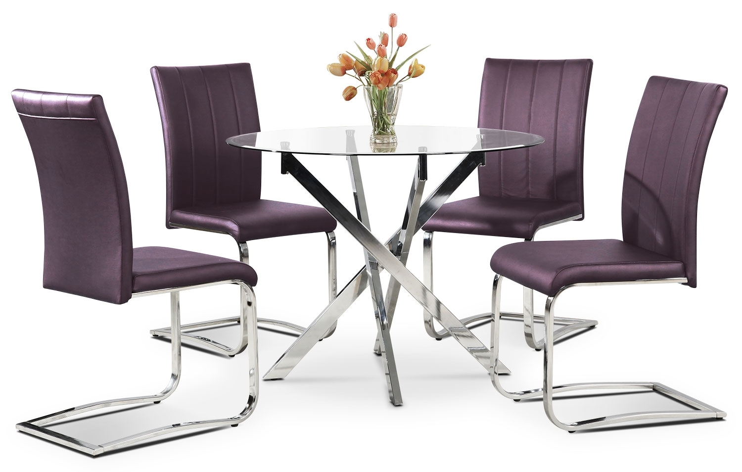 Dining Room Furniture - Tori 5-Piece Dining Package - Purple