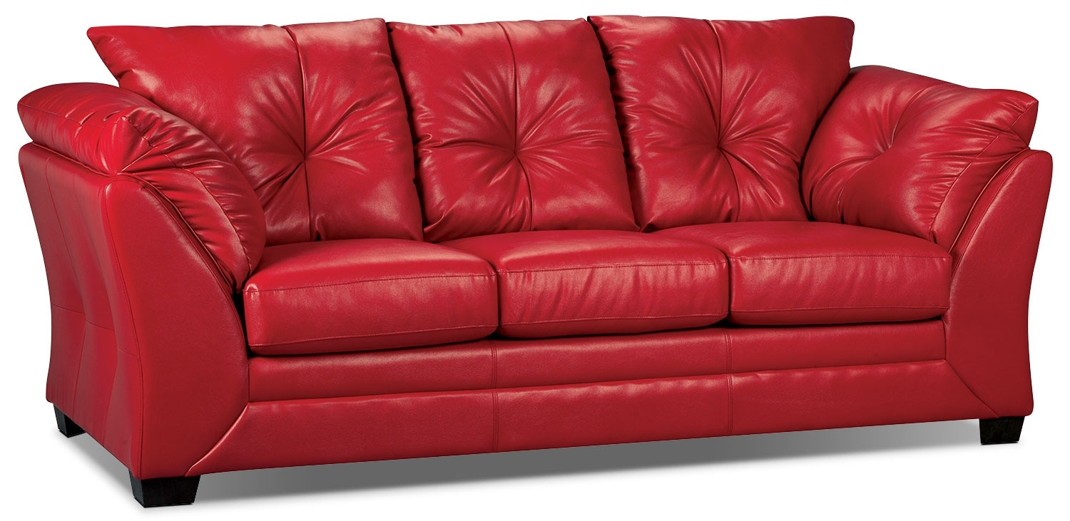 Max faux leather full size sofa bed red the brick for Sofa bed the brick