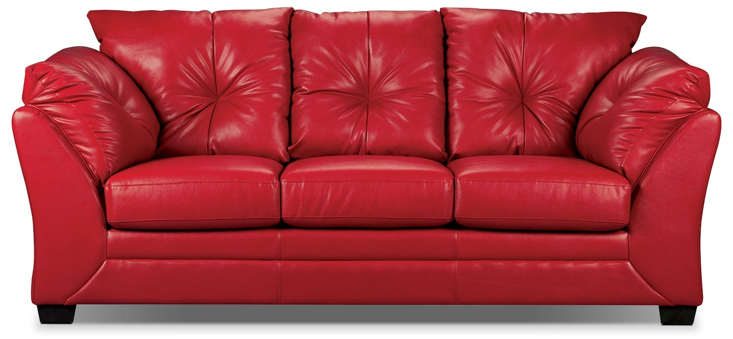 Living Room Furniture - Max Faux Leather Full-Size Sofa Bed – Red