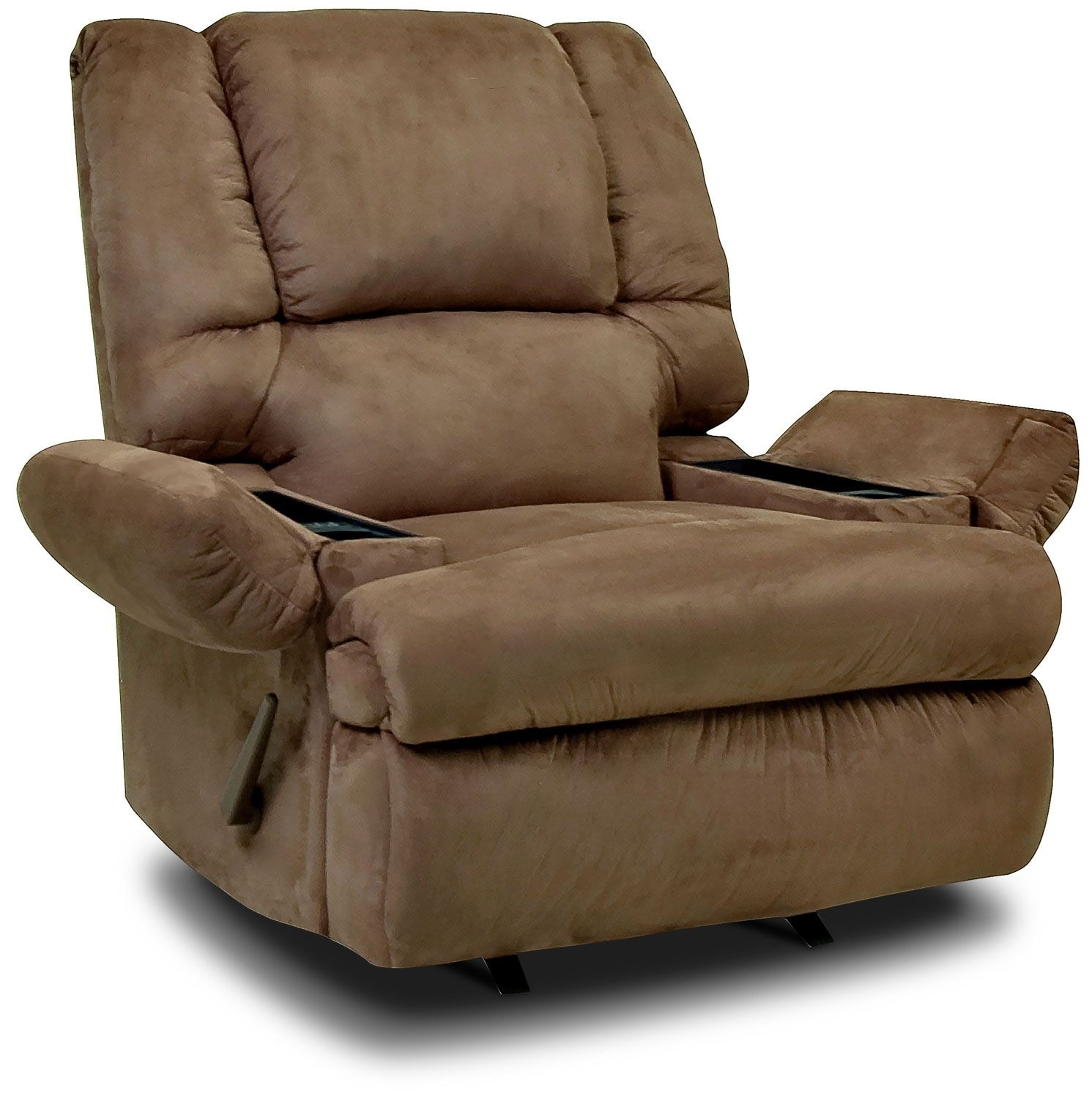 Living Room Furniture - Designed2B Recliner 5598 Padded Suede Rocker with Storage Arms - Mocha
