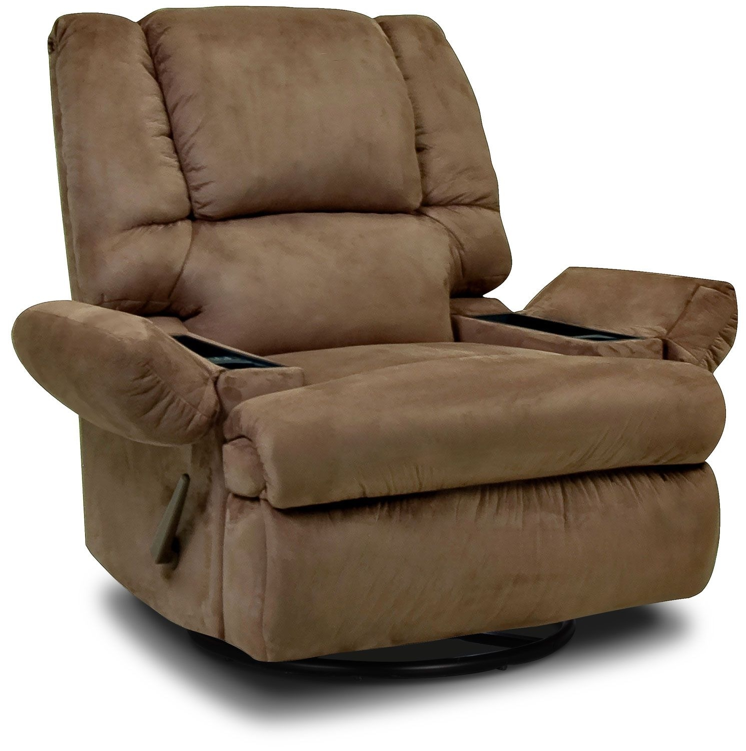 Living Room Furniture - Designed2B Recliner 5598 Padded Suede Swivel Rocker with Storage Arms - Mocha