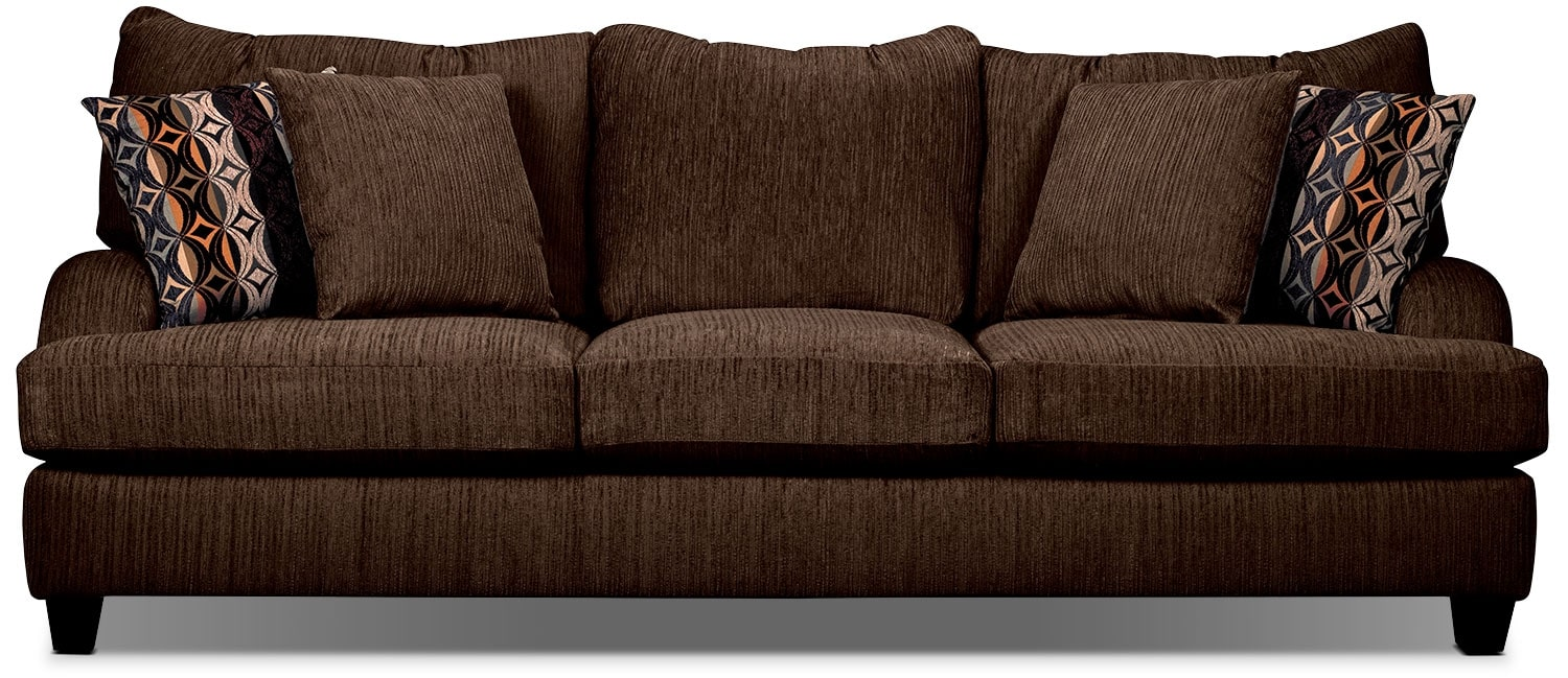 Putty chenille queen size sofa bed chocolate the brick Queen size sofa bed