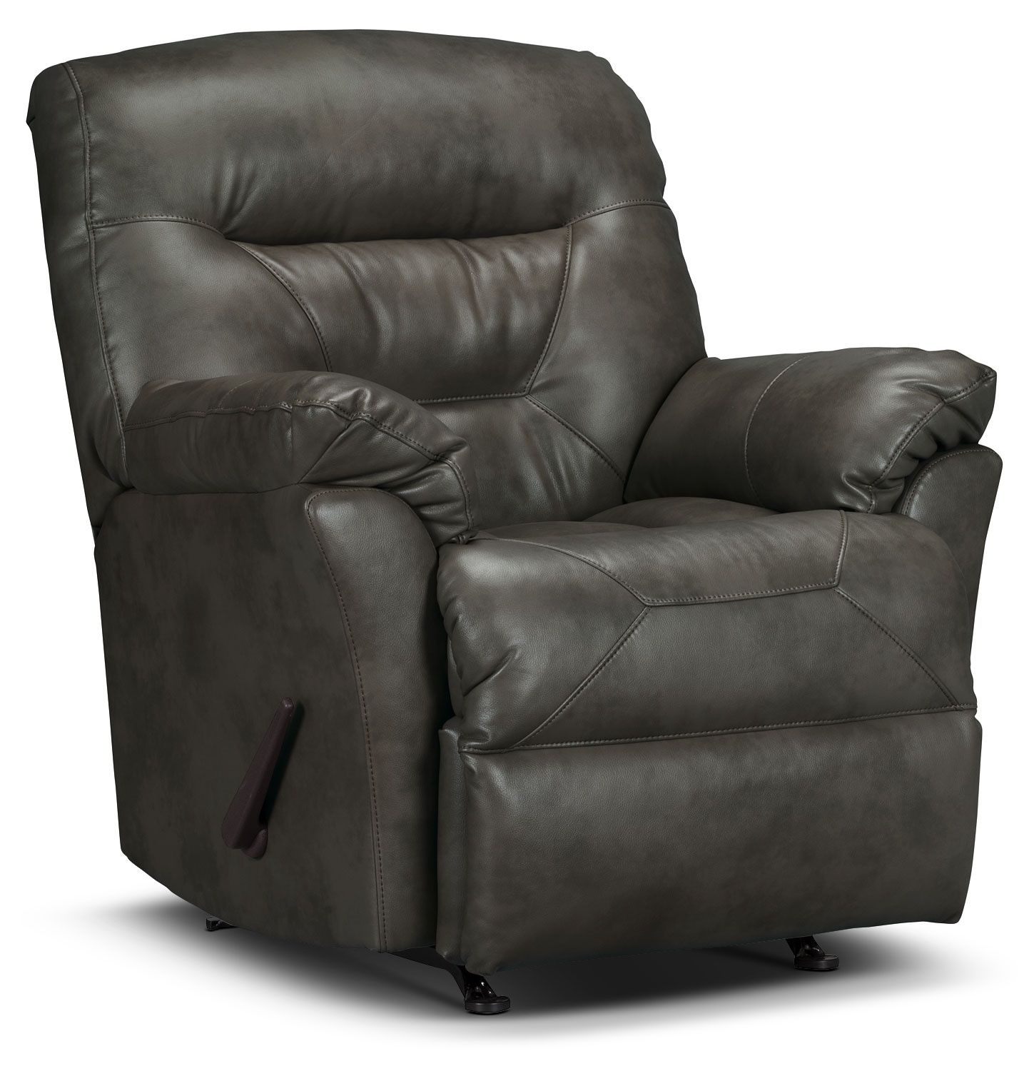 Living Room Furniture - Designed2B Recliner 4579 Leather-Look Fabric Rocker Recliner - Seal