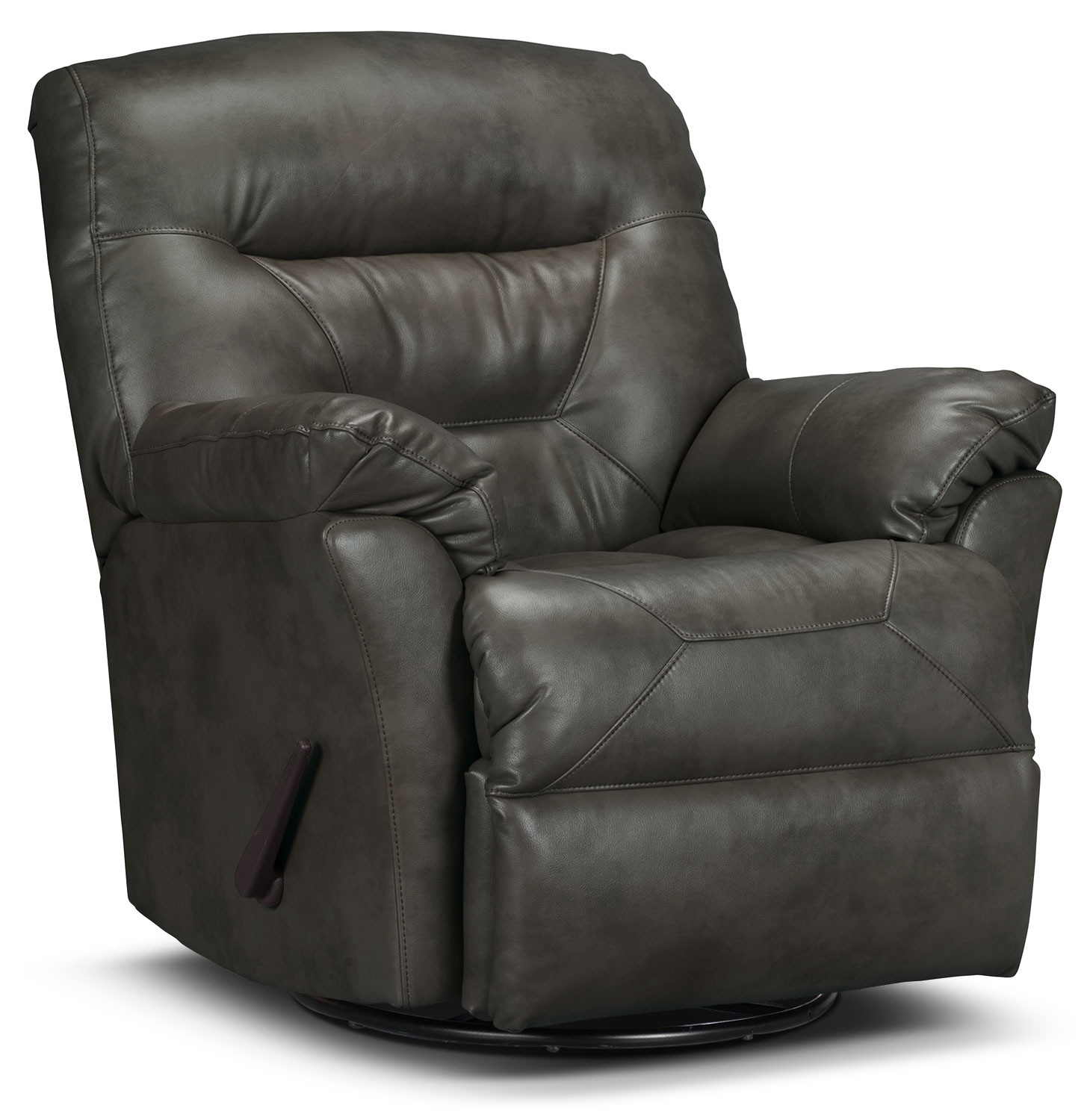 Living Room Furniture - Designed2B Recliner 4579 Leather-Look Fabric Swivel Glider Recliner - Seal