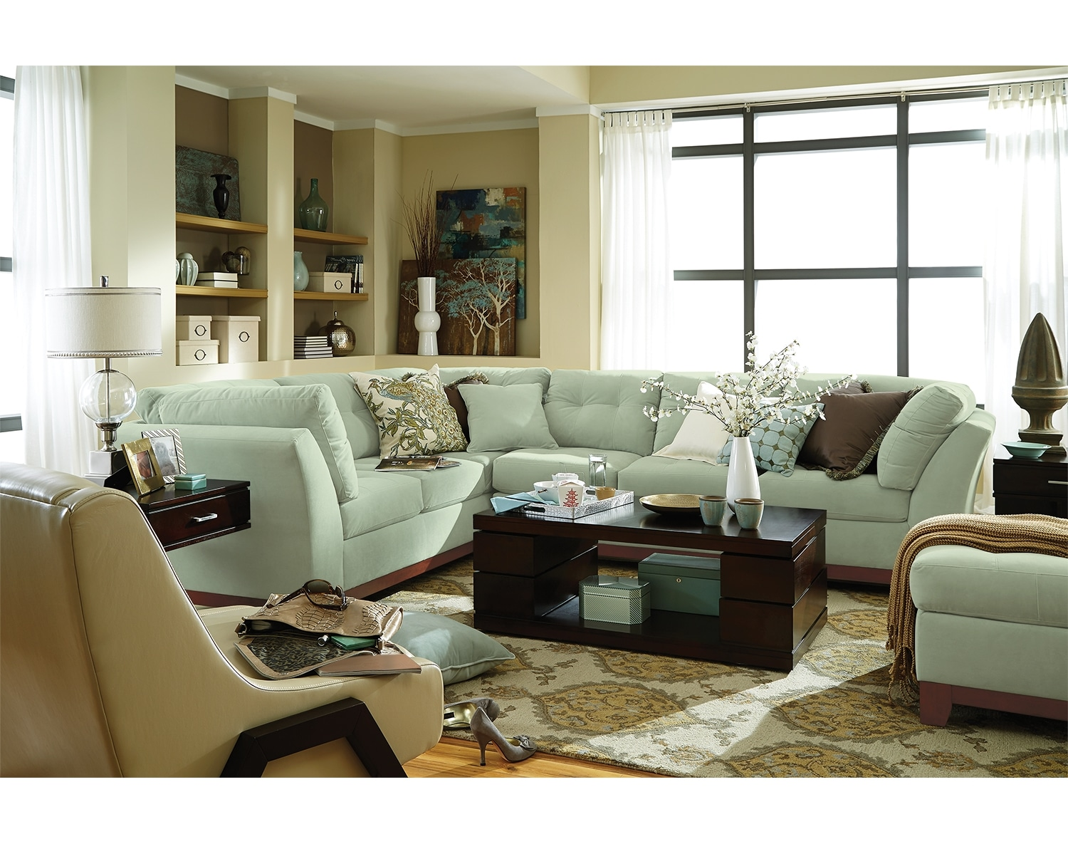 Living Room Furniture - The Brookside II Spa Collection - 3 Pc. Sectional