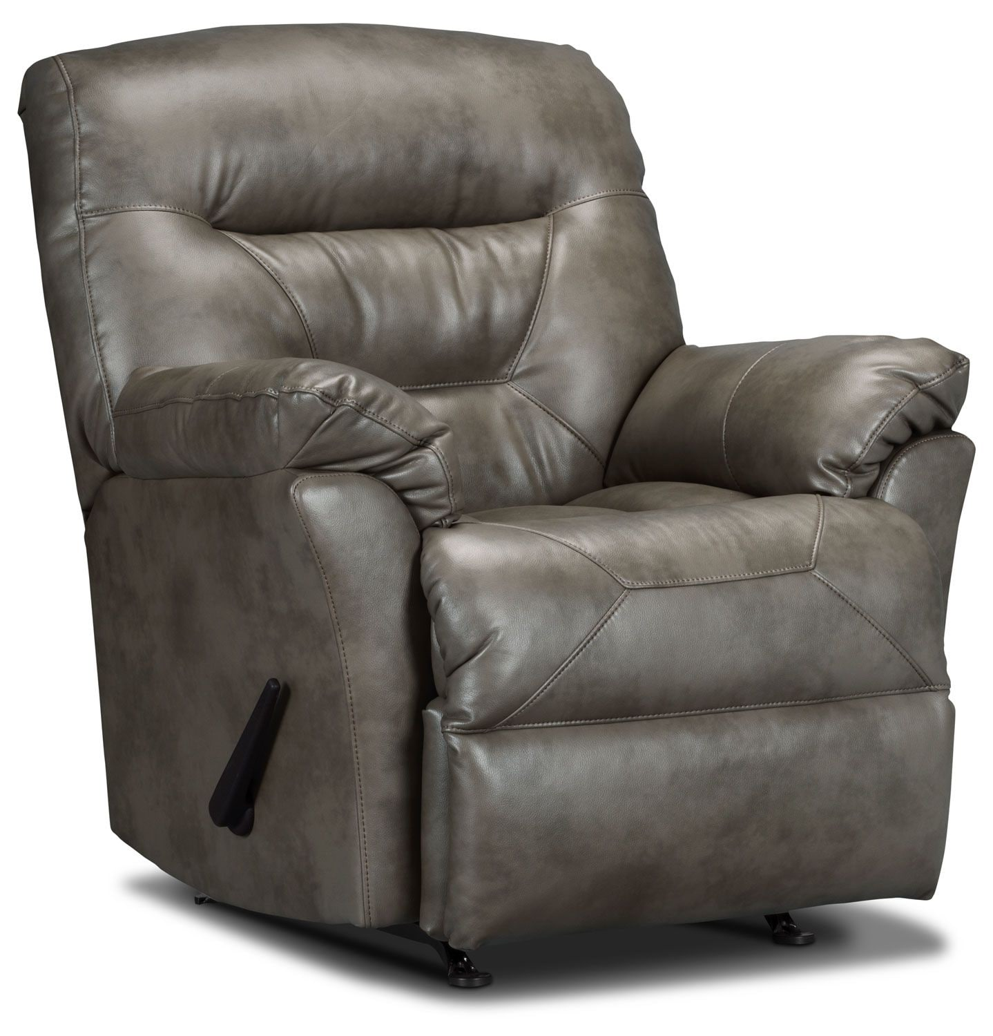 Living Room Furniture - Designed2B Recliner 4579 Leather-Look Fabric Rocker Recliner - Smoke