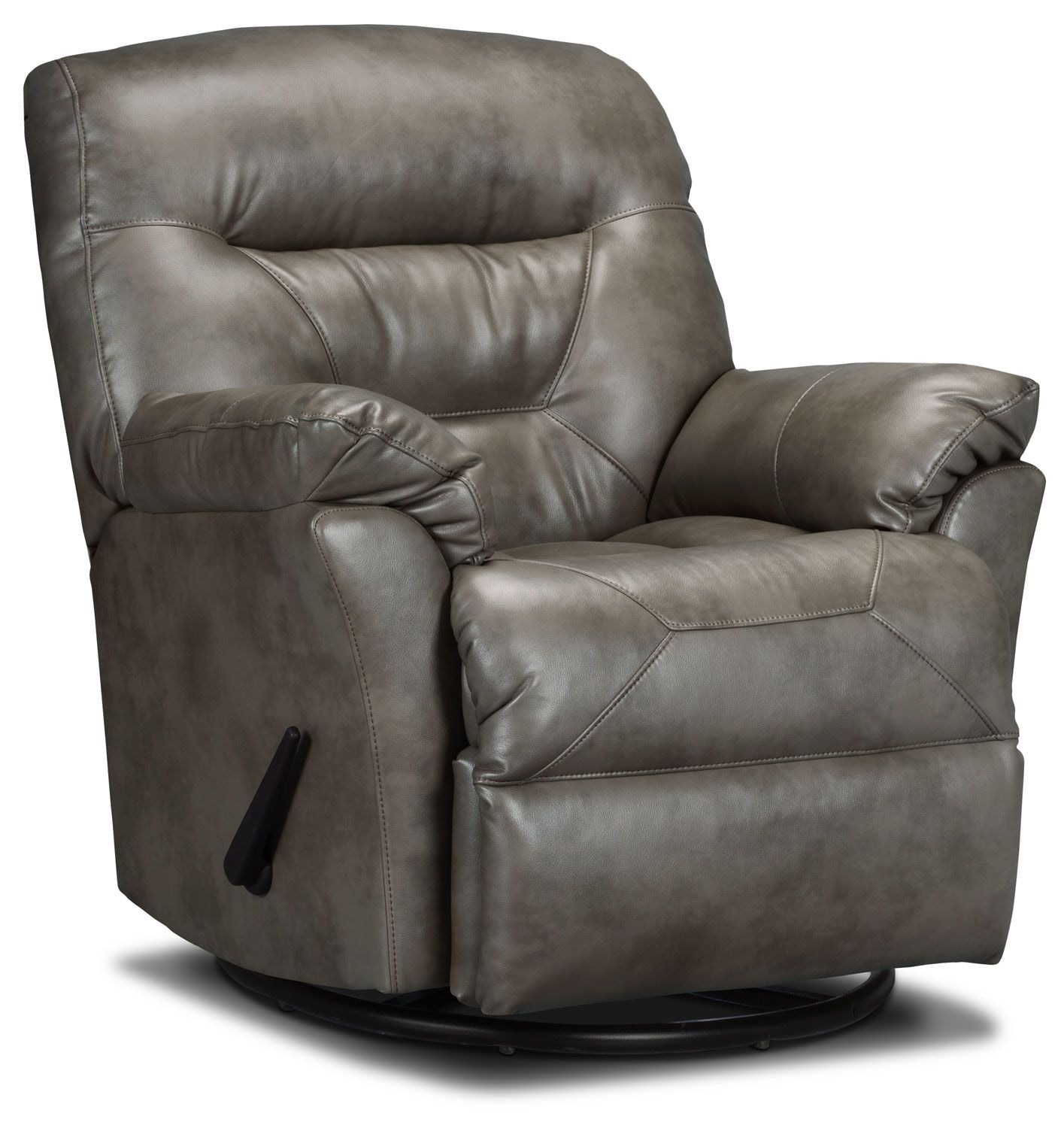 Designed2B Recliner 4579 Leather-Look Fabric Swivel Glider Recliner - Smoke
