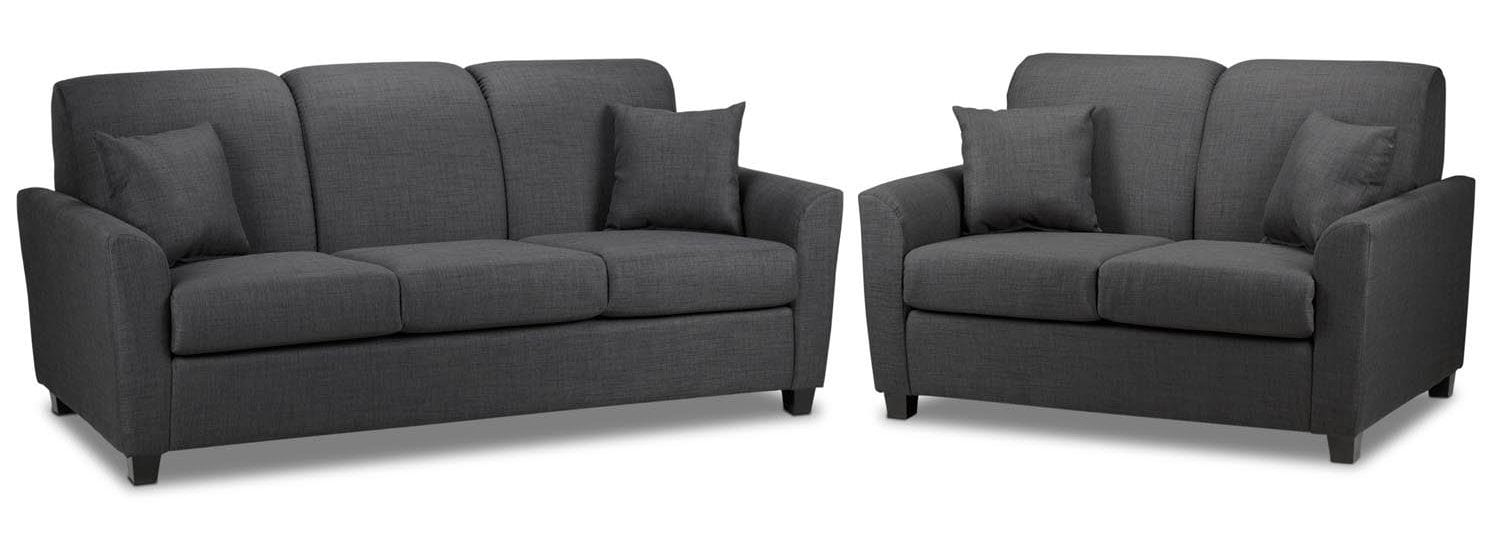 Roxanne Sofa and Loveseat Set - Charcoal