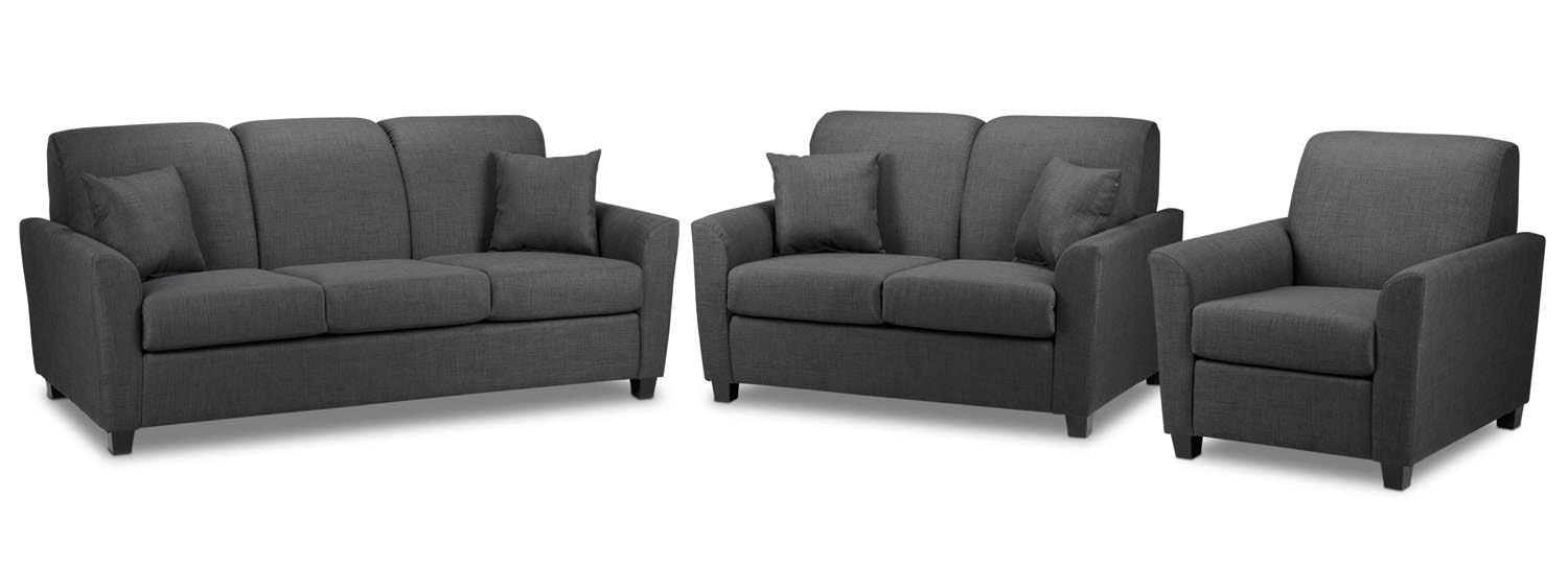 Roxanne Sofa, Loveseat and Chair Set - Charcoal