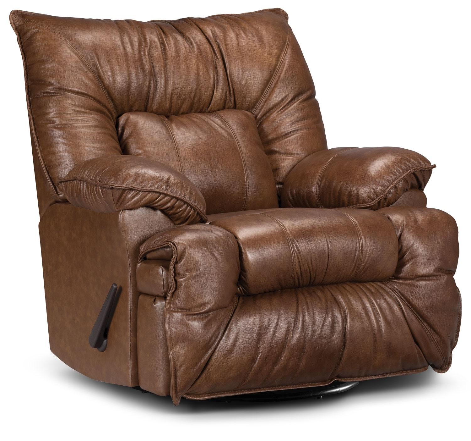 Living Room Furniture - Designed2B Recliner 7726 Genuine Leather Swivel Glider Chair - Saddle
