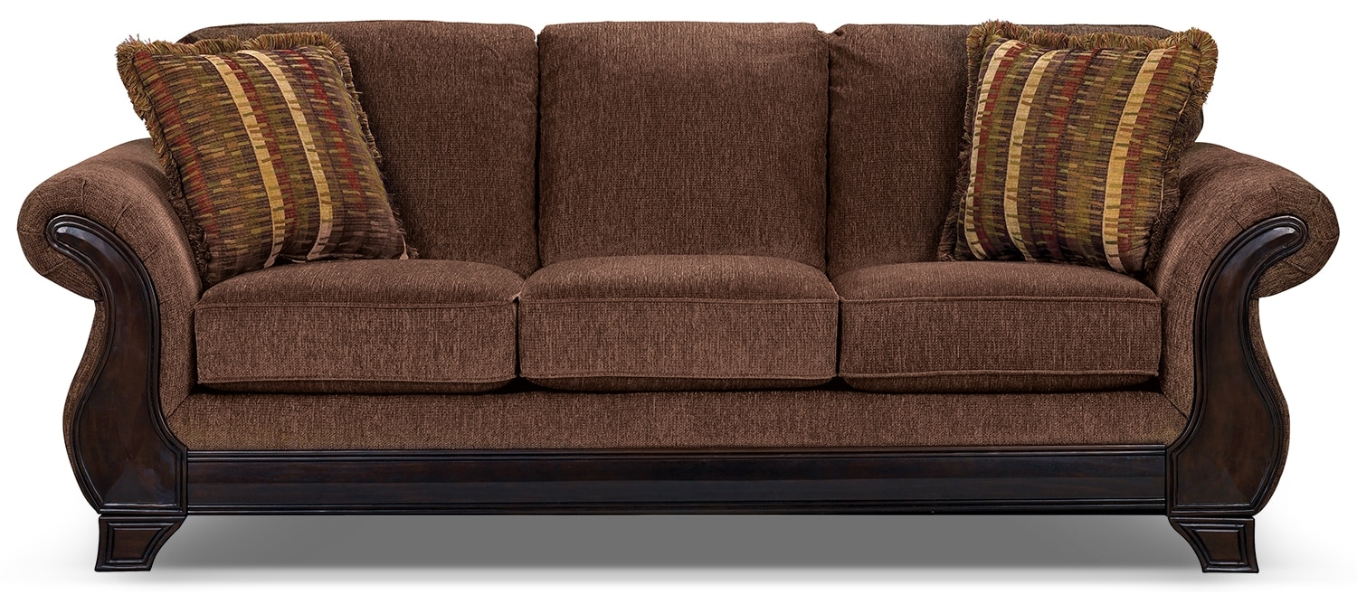 Ivan chenille queen size sofa bed brown the brick for Sofa bed the brick