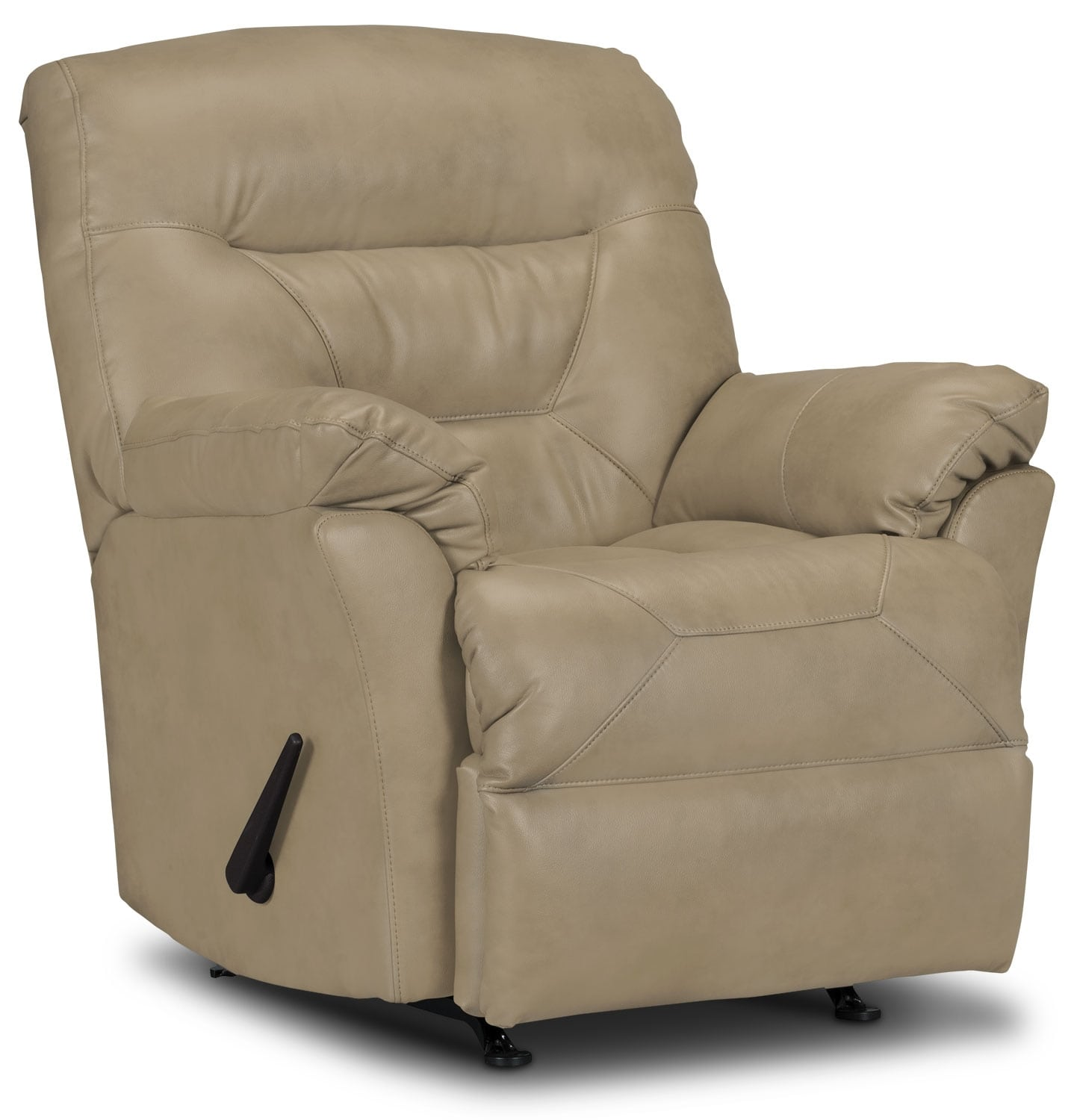 Designed2B Recliner 4579 Genuine Leather Rocker Recliner - Putty