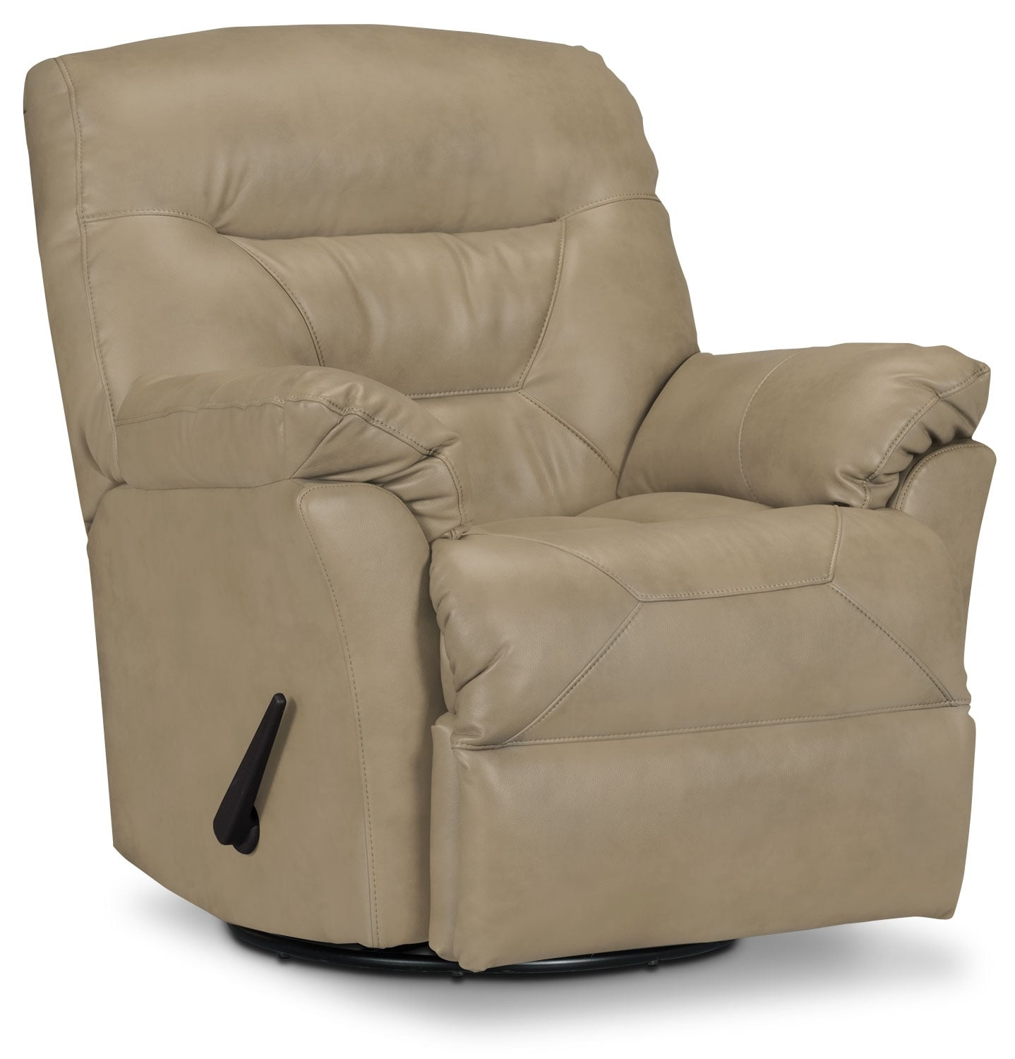 Living Room Furniture - Designed2B Recliner 4579 Genuine Leather Swivel Glider Recliner - Putty