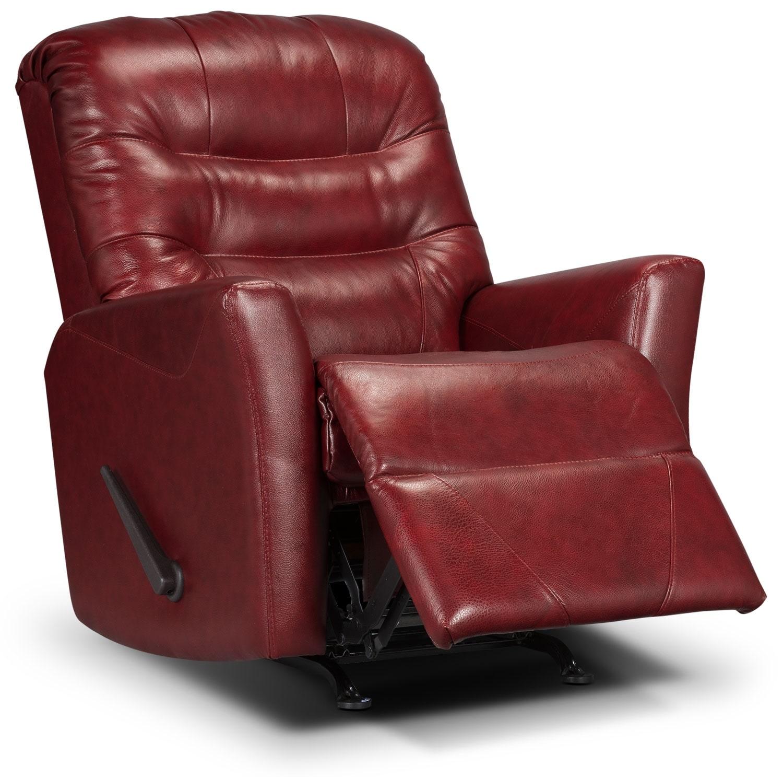 Living Room Furniture - Designed2B Recliner 4560 Genuine Leather Rocker Recliner - Paprika
