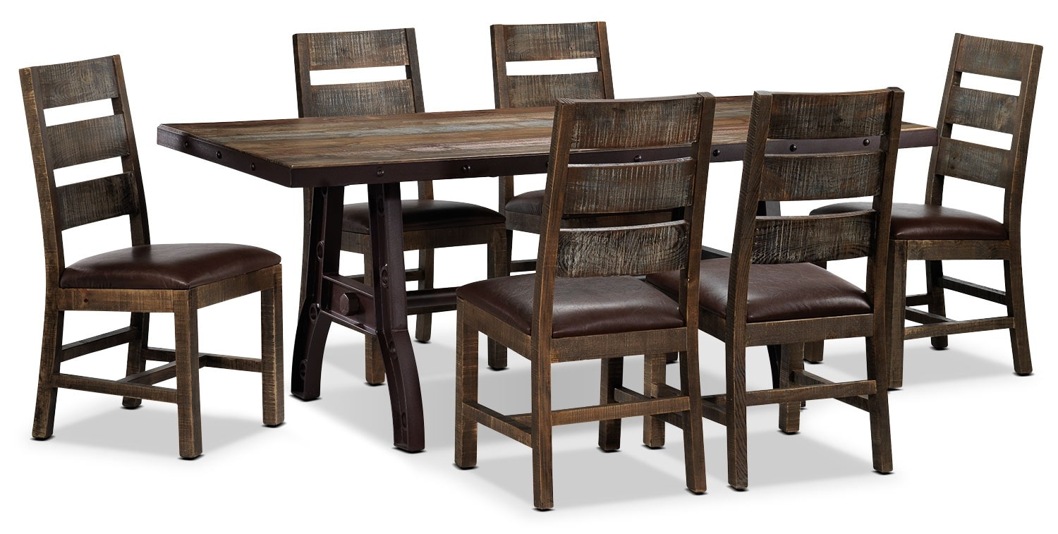 Urban splendor 7 piece dining room set rustic pine leon 39 s for 7 piece dining room set