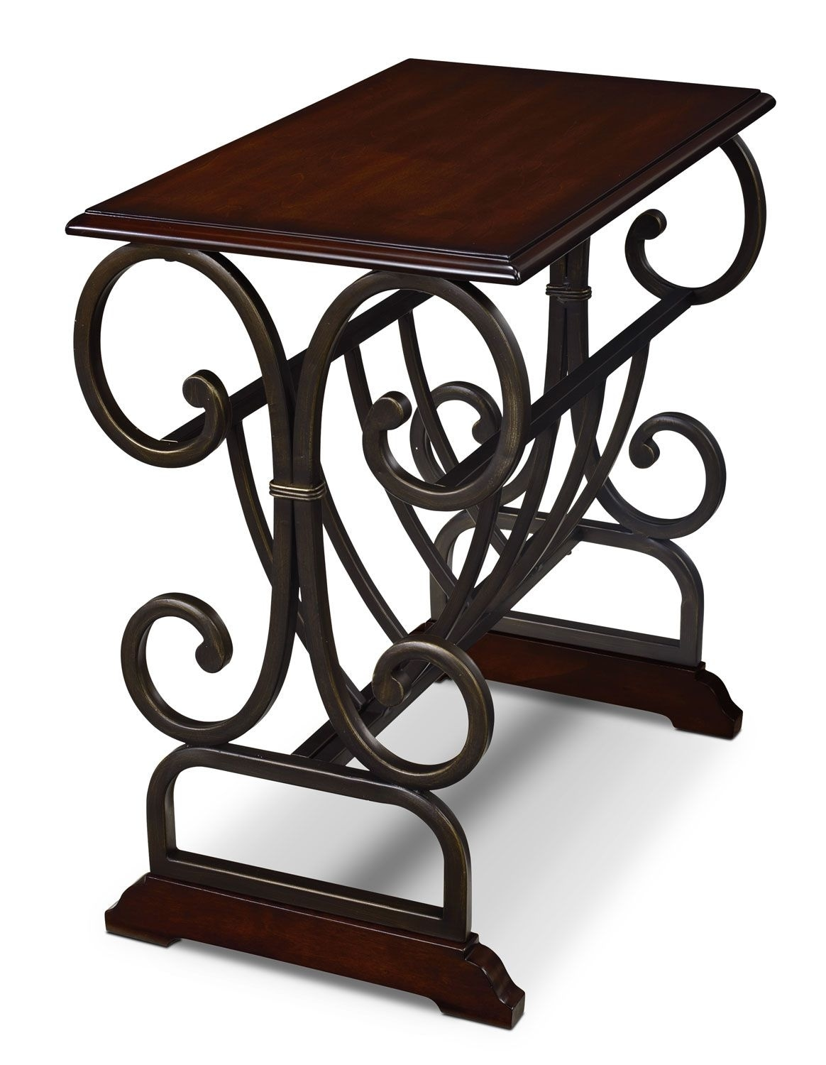 Accent and Occasional Furniture - Gander Accent Table with Magazine Rack - Brown Cherry