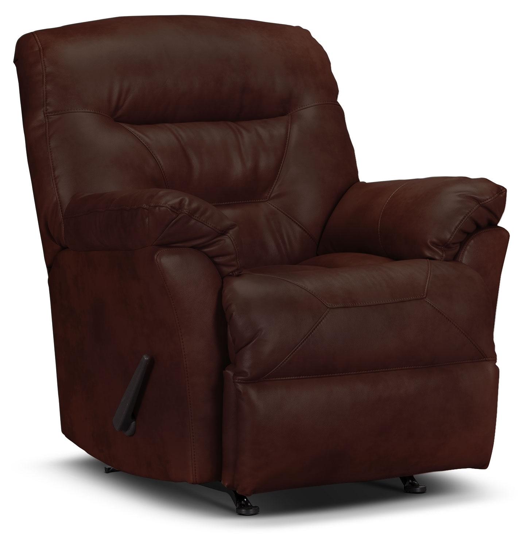 Living Room Furniture - Designed2B Recliner 4579 Genuine Leather Rocker Recliner - Walnut
