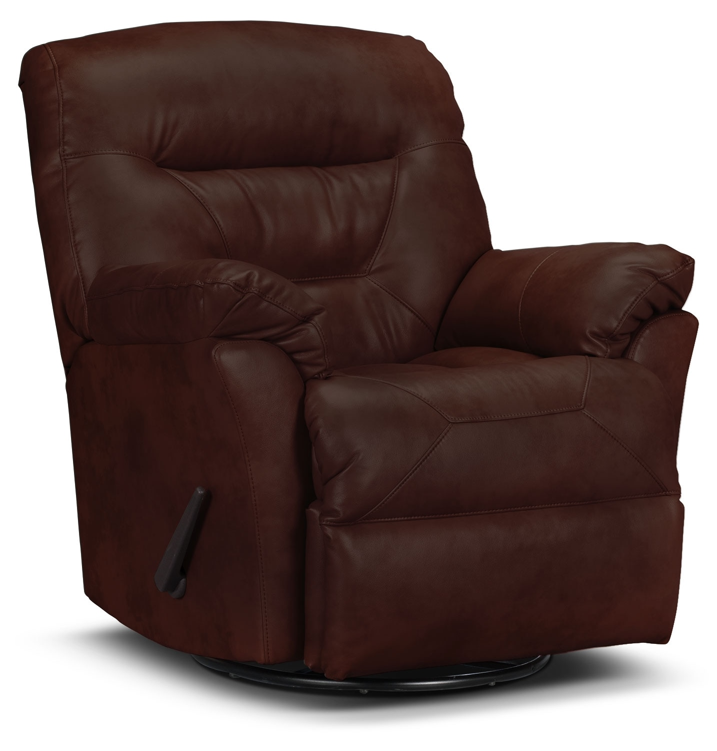 Living Room Furniture - Designed2B Recliner 4579 Genuine Leather Swivel Glider Recliner - Walnut