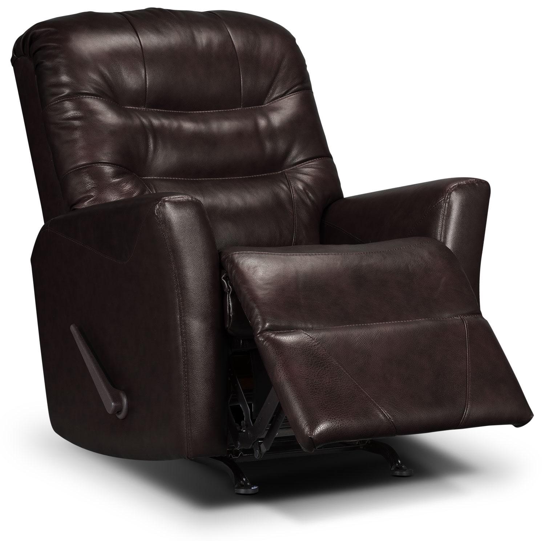 Living Room Furniture - Designed2B Recliner 4560 Bonded Leather Rocker Recliner - Chocolate