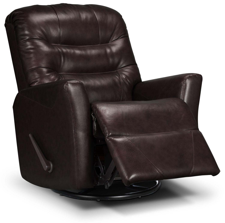 Living Room Furniture - Designed2B Recliner 4560 Bonded Leather Swivel Glider Recliner - Chocolate