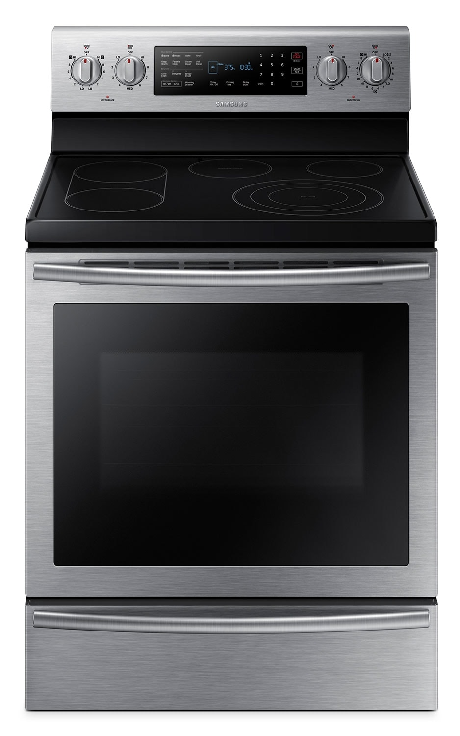 Cooking Products - Samsung 5.9 Cu. Ft. Electric Convection Range with Warming Drawer – Stainless Steel