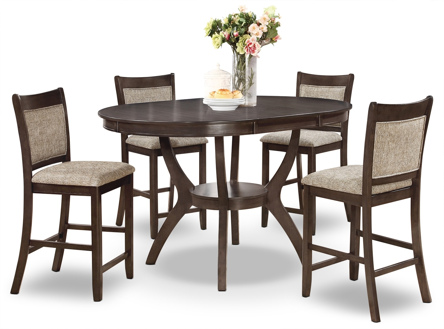 Dining Room Furniture - Adell 5-Piece Counter-Height Dining Package - Brown-Grey
