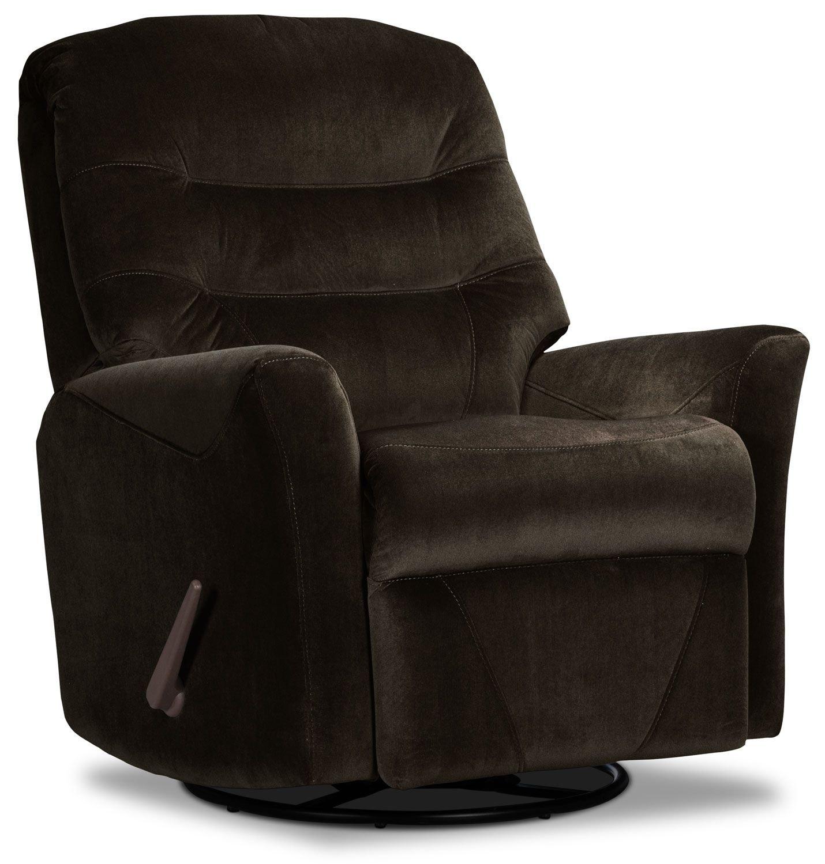 Living Room Furniture - Designed2B Recliner 4560 Microsuede Swivel Glider Recliner - Chocolate