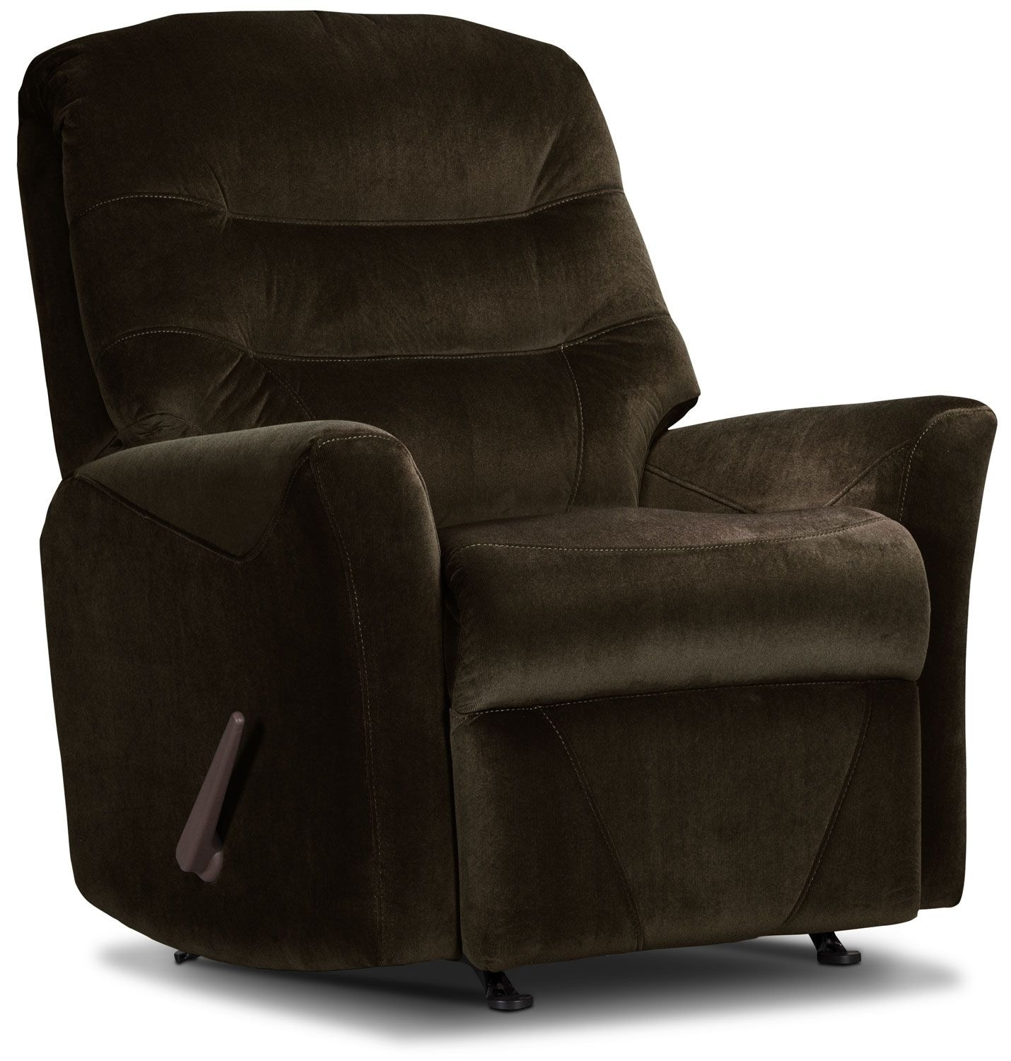 Living Room Furniture - Designed2B Recliner 4560 Microsuede Rocker Recliner - Chocolate
